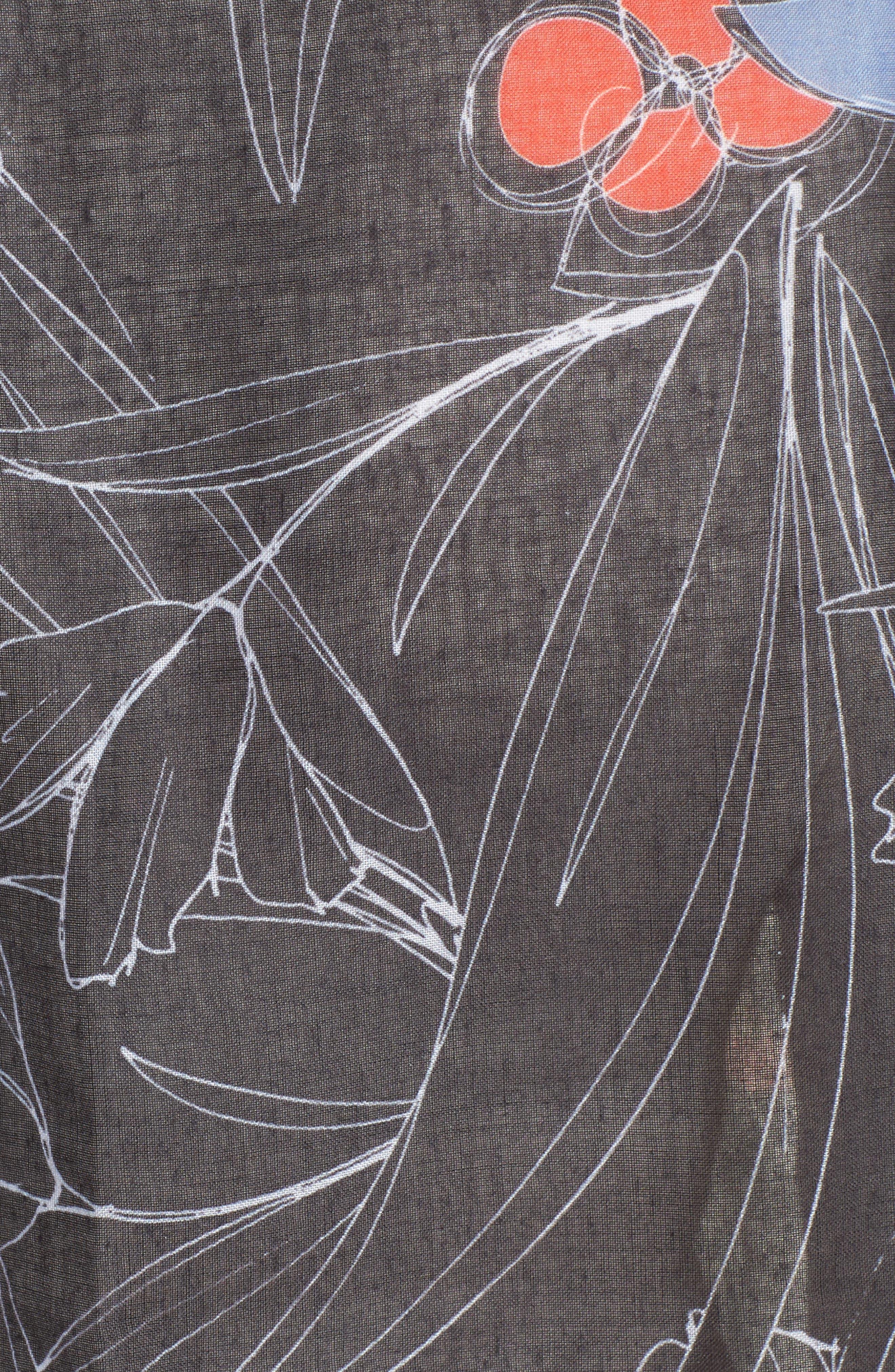 Print Wrap Scarf,                             Alternate thumbnail 5, color,                             Black Scattered Garden