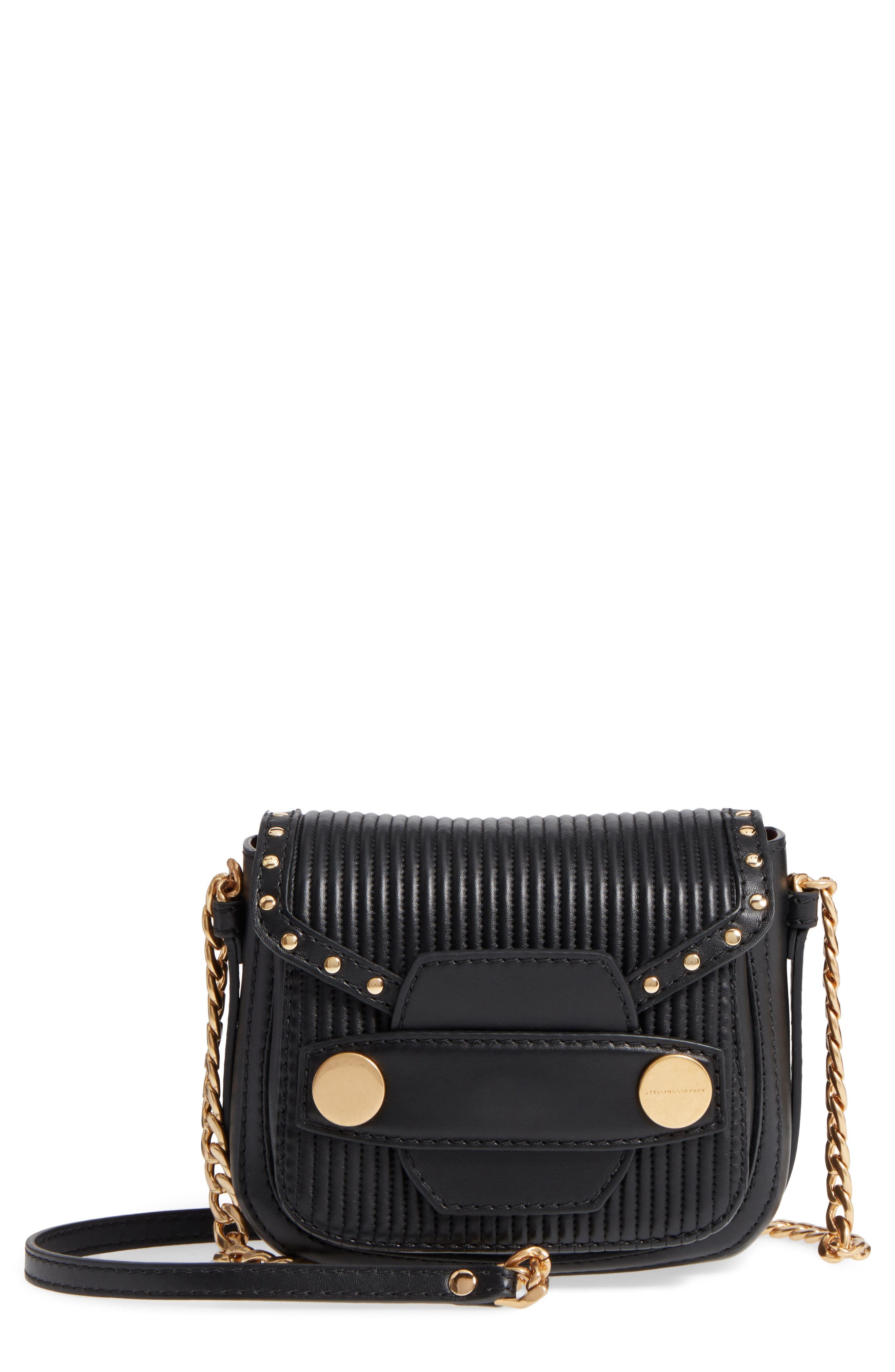 Quilted Faux Leather Crossbody Bag,                             Main thumbnail 1, color,                             Black