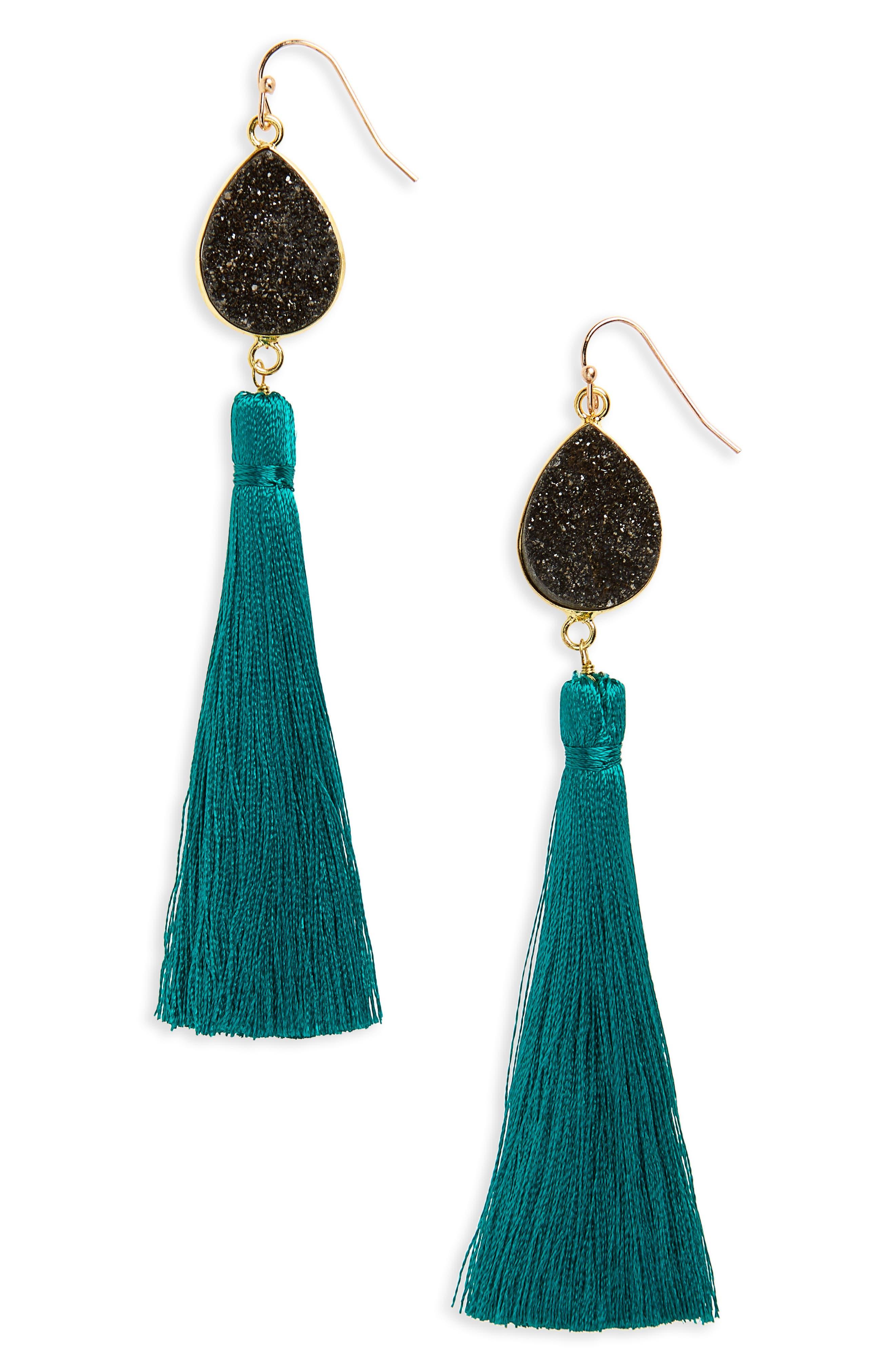 Drusy Tassel Earrings,                         Main,                         color, Multi