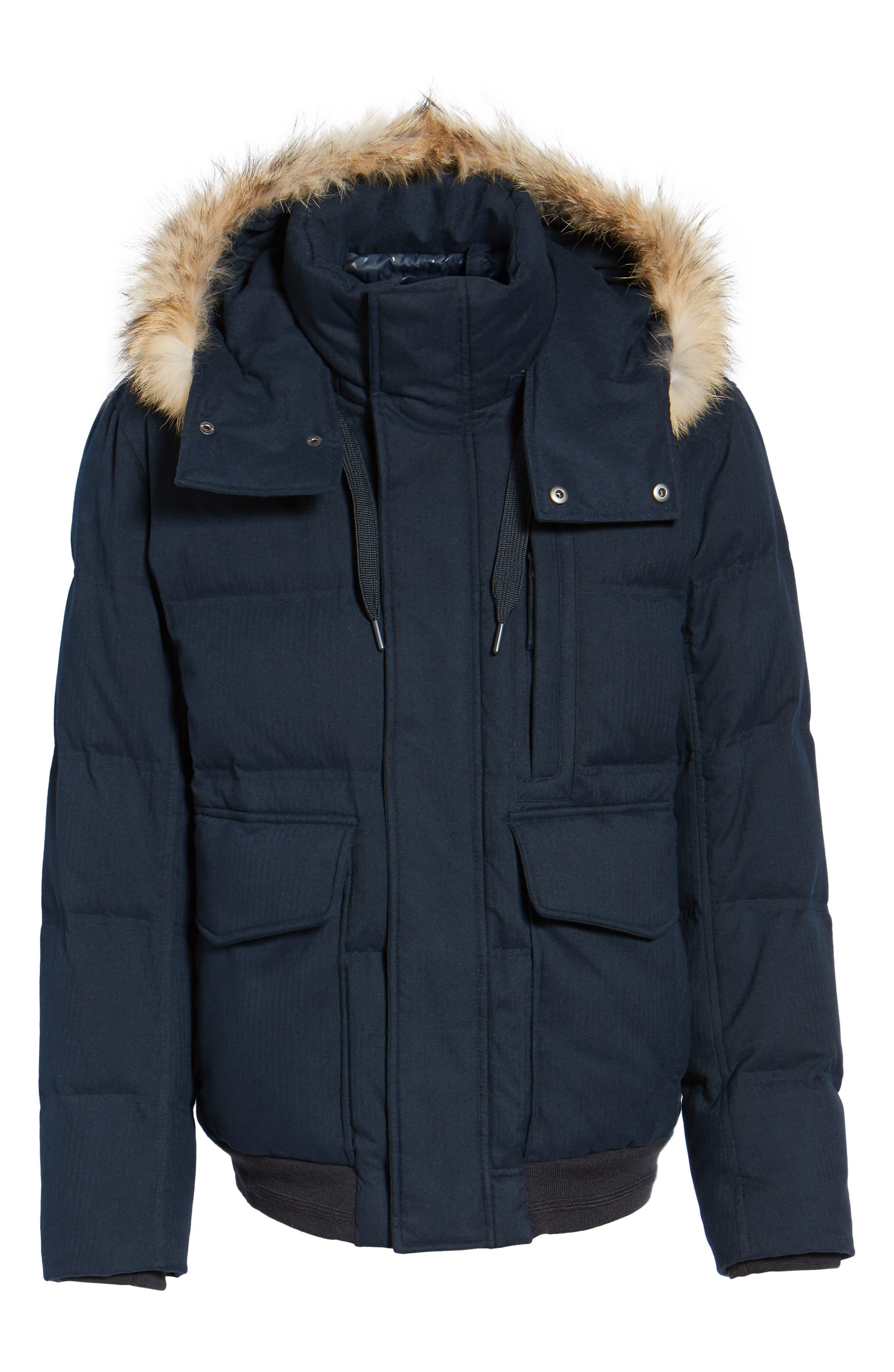Alternate Image 5  - Marc New York Down Herringbone Jacket with Genuine Coyote Fur Trim
