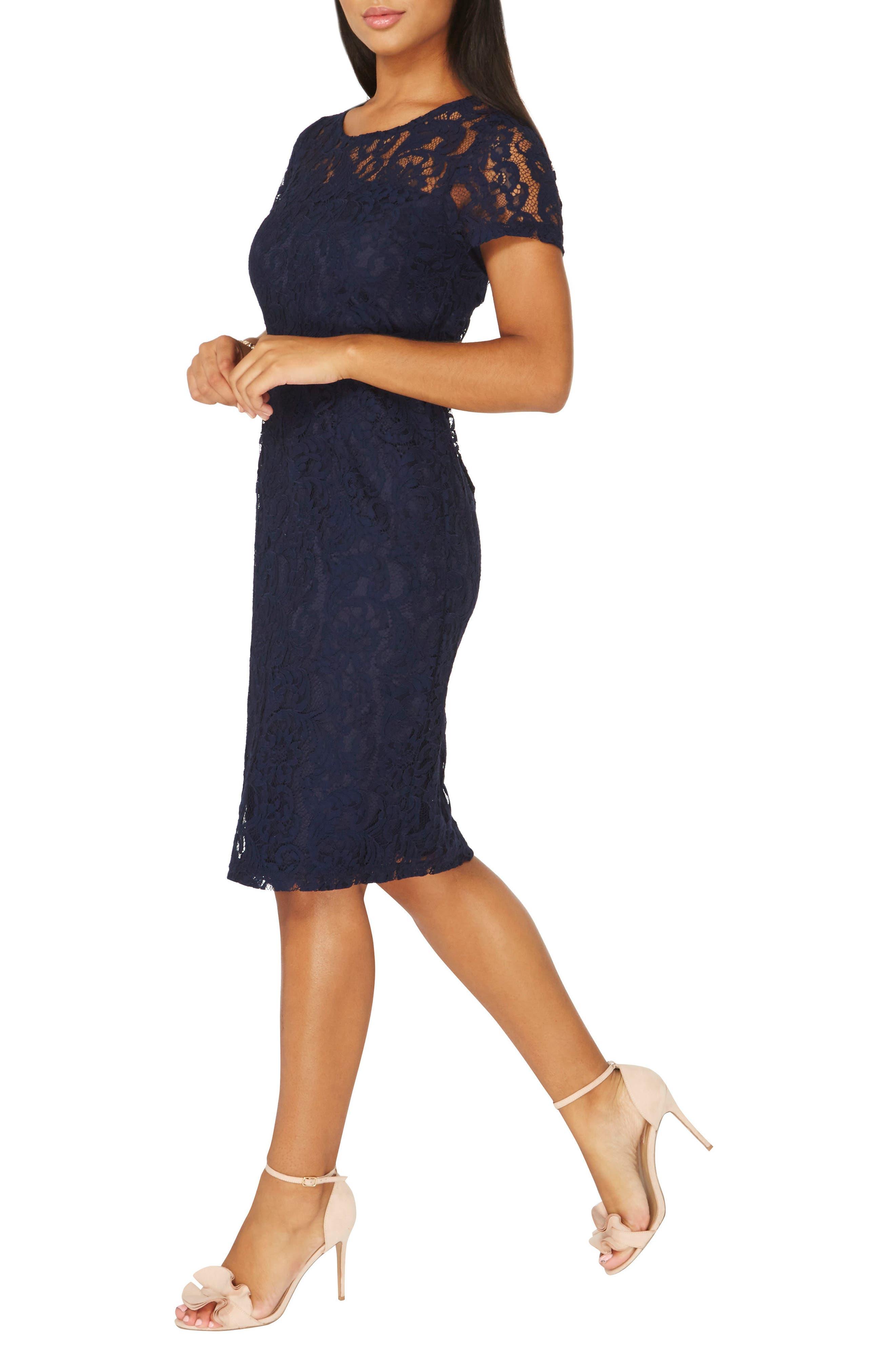Lace Pencil Dress,                             Alternate thumbnail 3, color,                             Navy