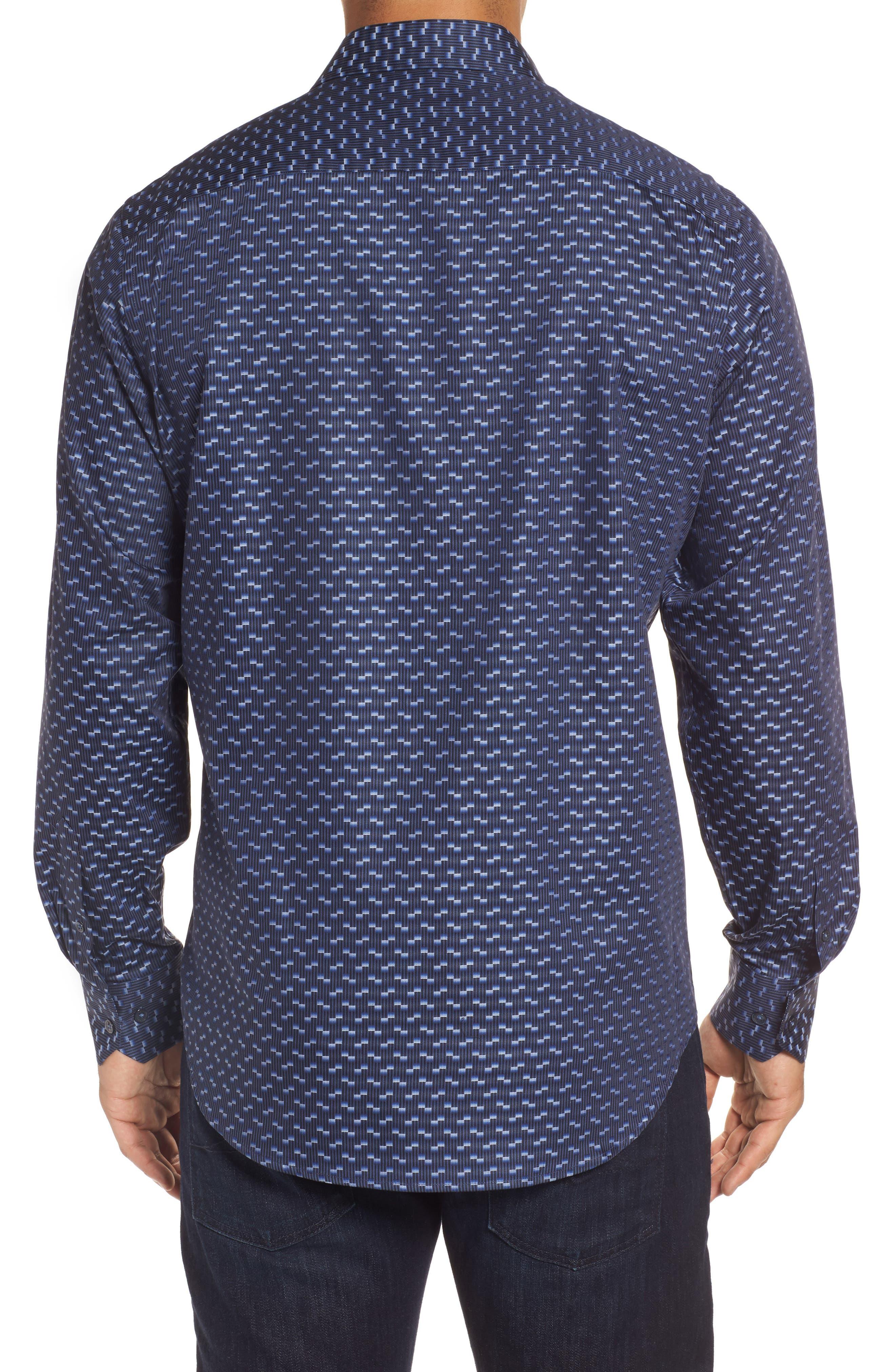Alternate Image 2  - Bugatchi Classic Fit Geo Jacquard Sport Shirt