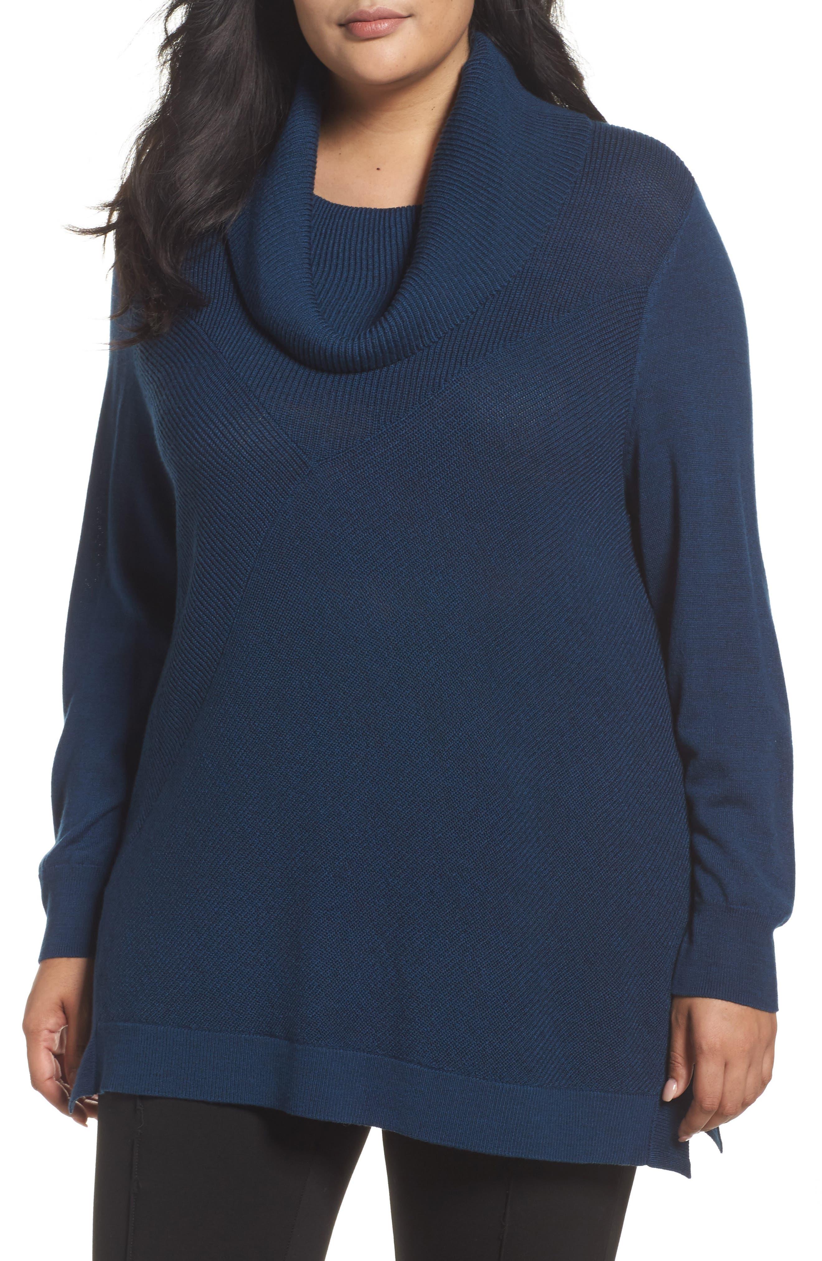 Sejour Cowl Neck Ribbed Trim Pullover (Plus Size)