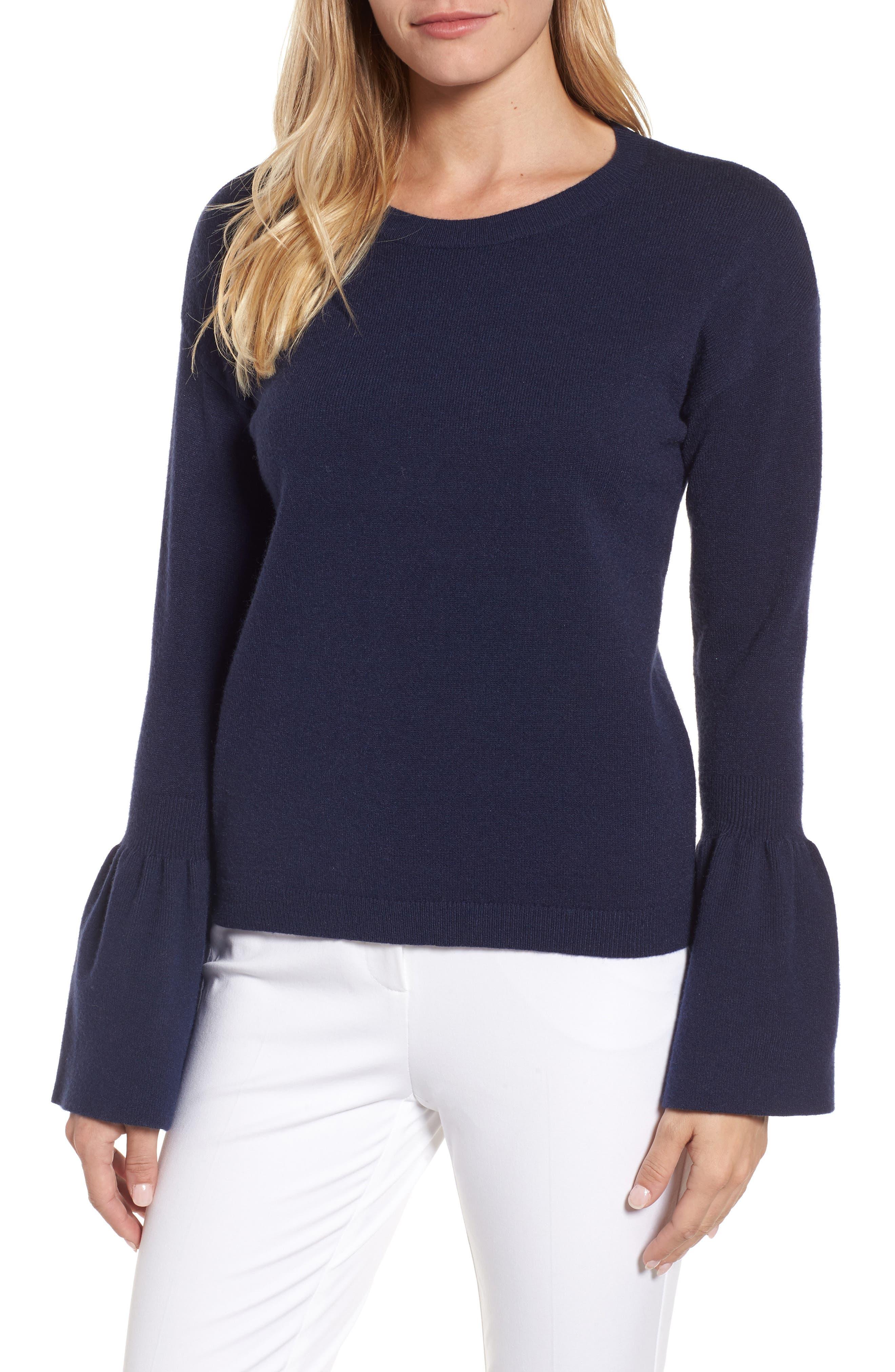 Halogen® Bell Sleeve Sweater (Regular & Petite)