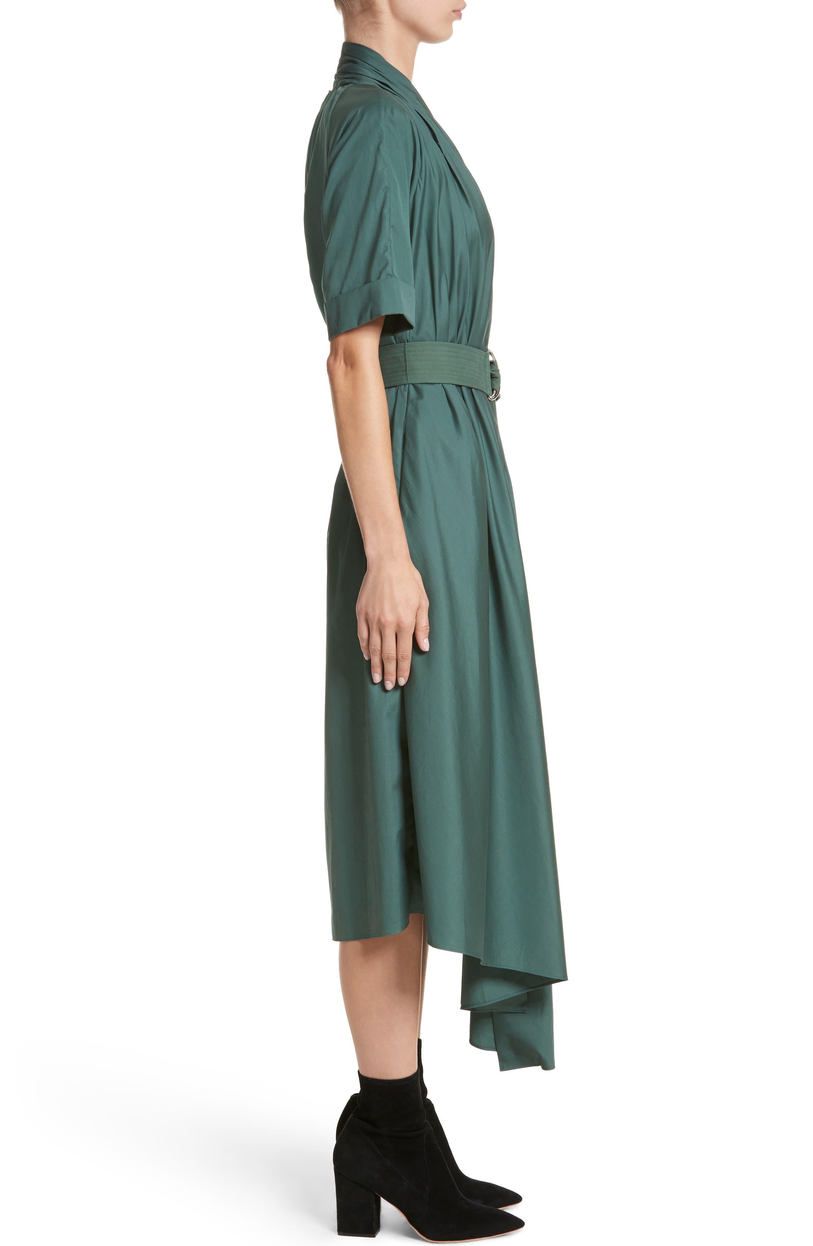 Asymmetrical Cotton Poplin Dress,                             Alternate thumbnail 3, color,                             Sage