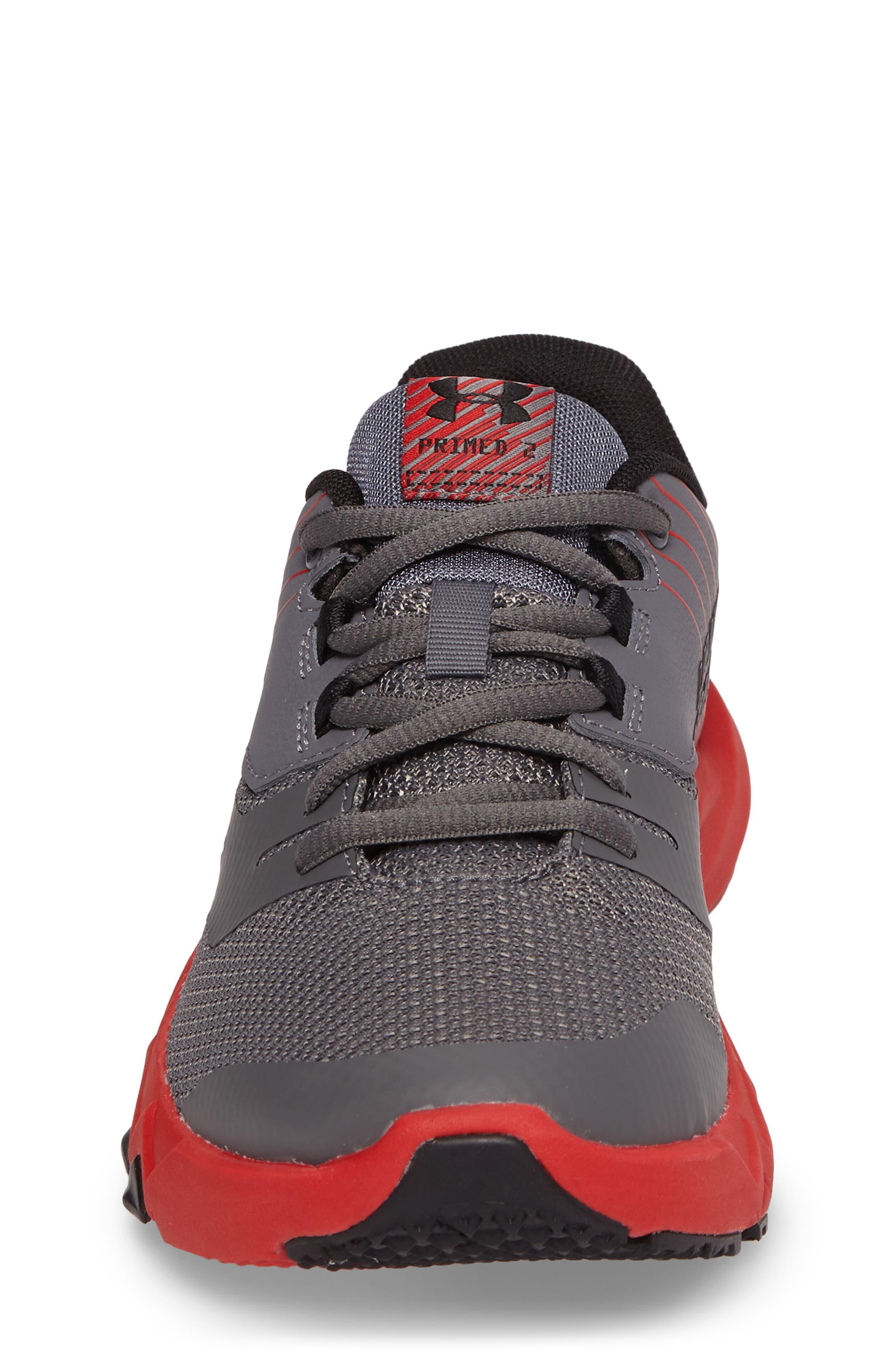 Grade School Primed 2 Running Shoe,                             Alternate thumbnail 4, color,                             Graphite/ Red/ Black
