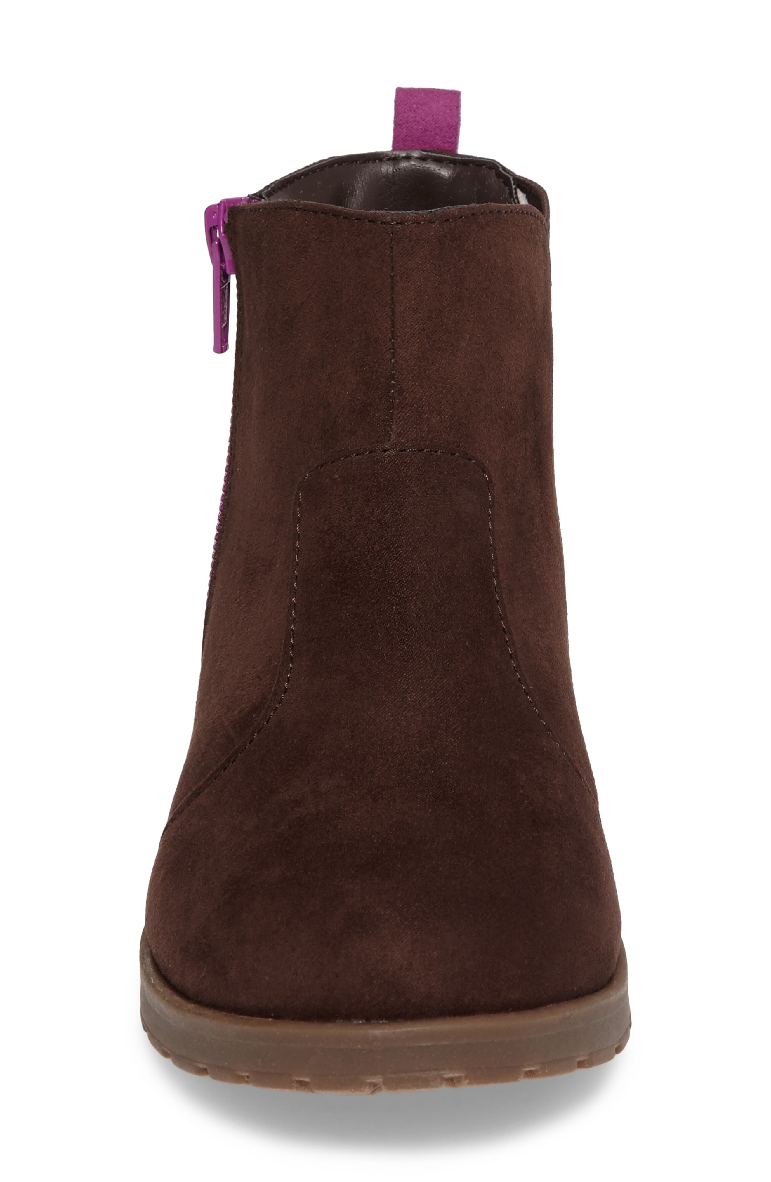Lucy Zip Bootie,                             Alternate thumbnail 4, color,                             Chocolate