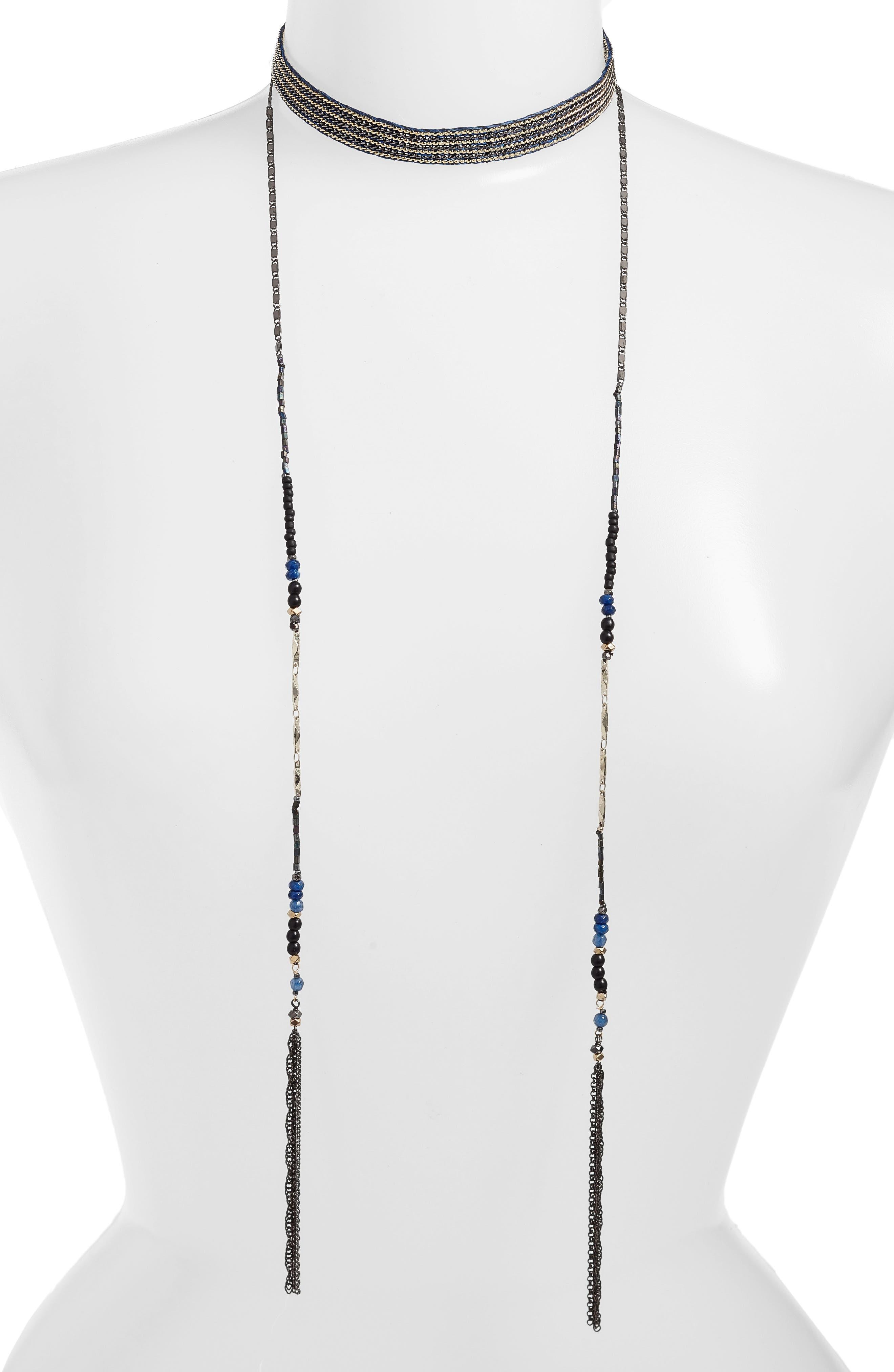 Semiprecious Stone Multistrand Lariat Necklace,                         Main,                         color, Blue