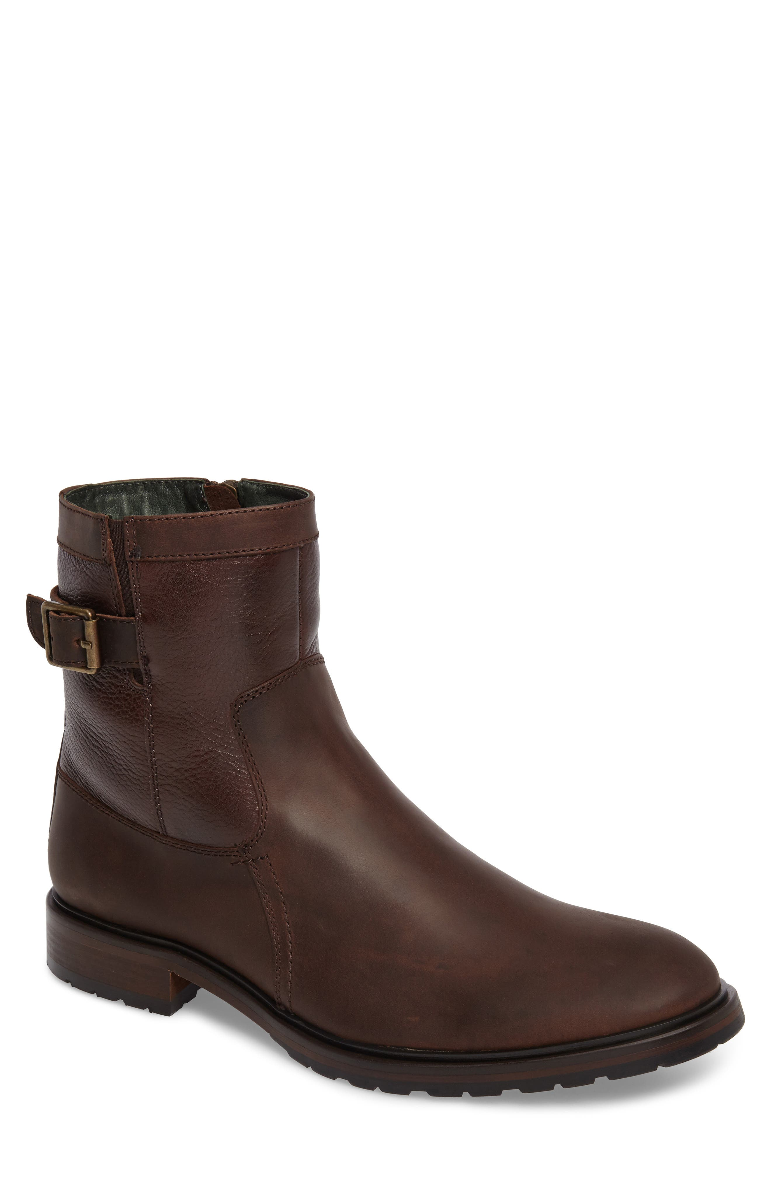Myles Zip Boot,                         Main,                         color, Dark Brown Leather