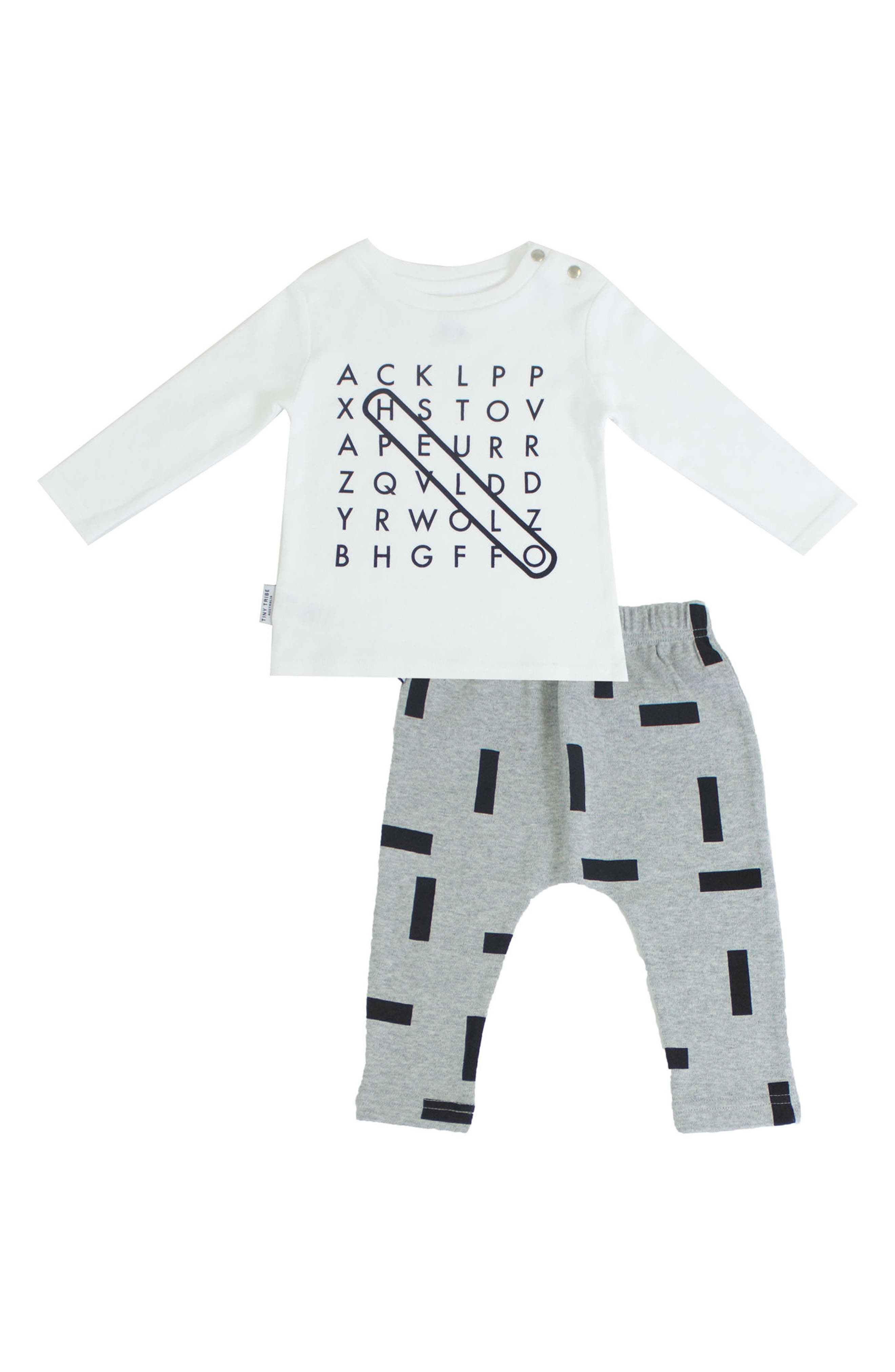 Word Graphic T-Shirt & Leggings Set,                         Main,                         color, White/ Grey Marle