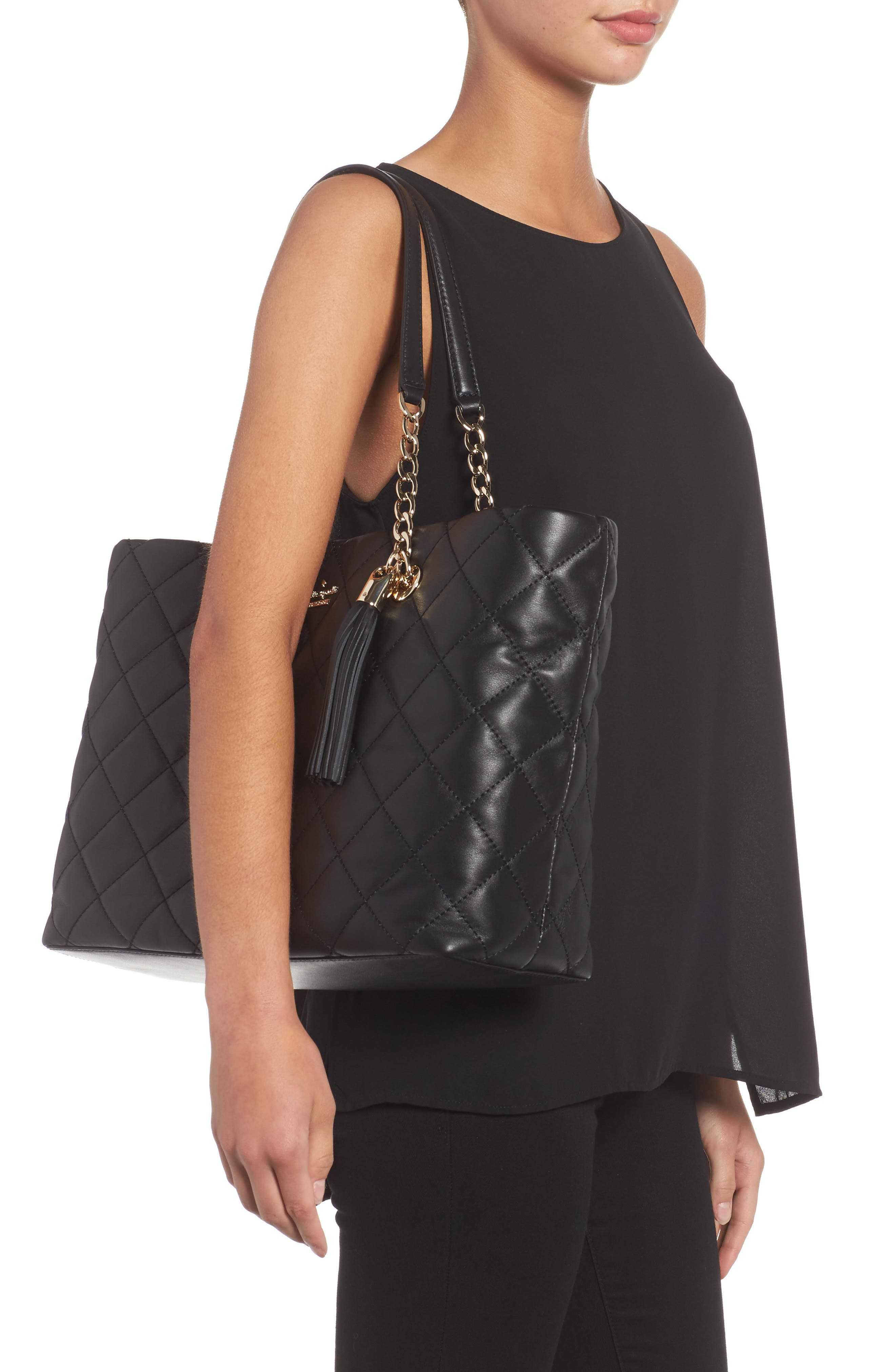 emerson place - priya quilted leather tote,                             Alternate thumbnail 2, color,                             Black