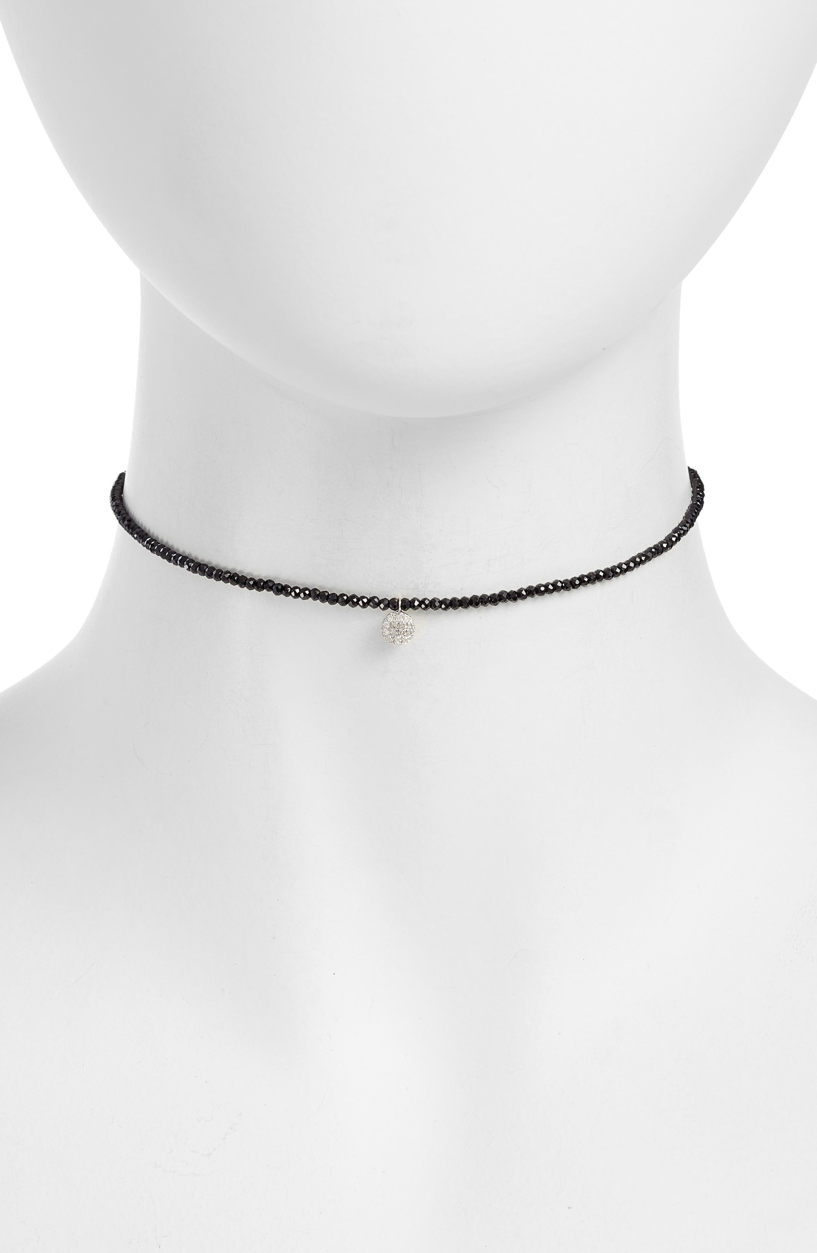 Diamond Charm Choker Necklace,                         Main,                         color, White Gold