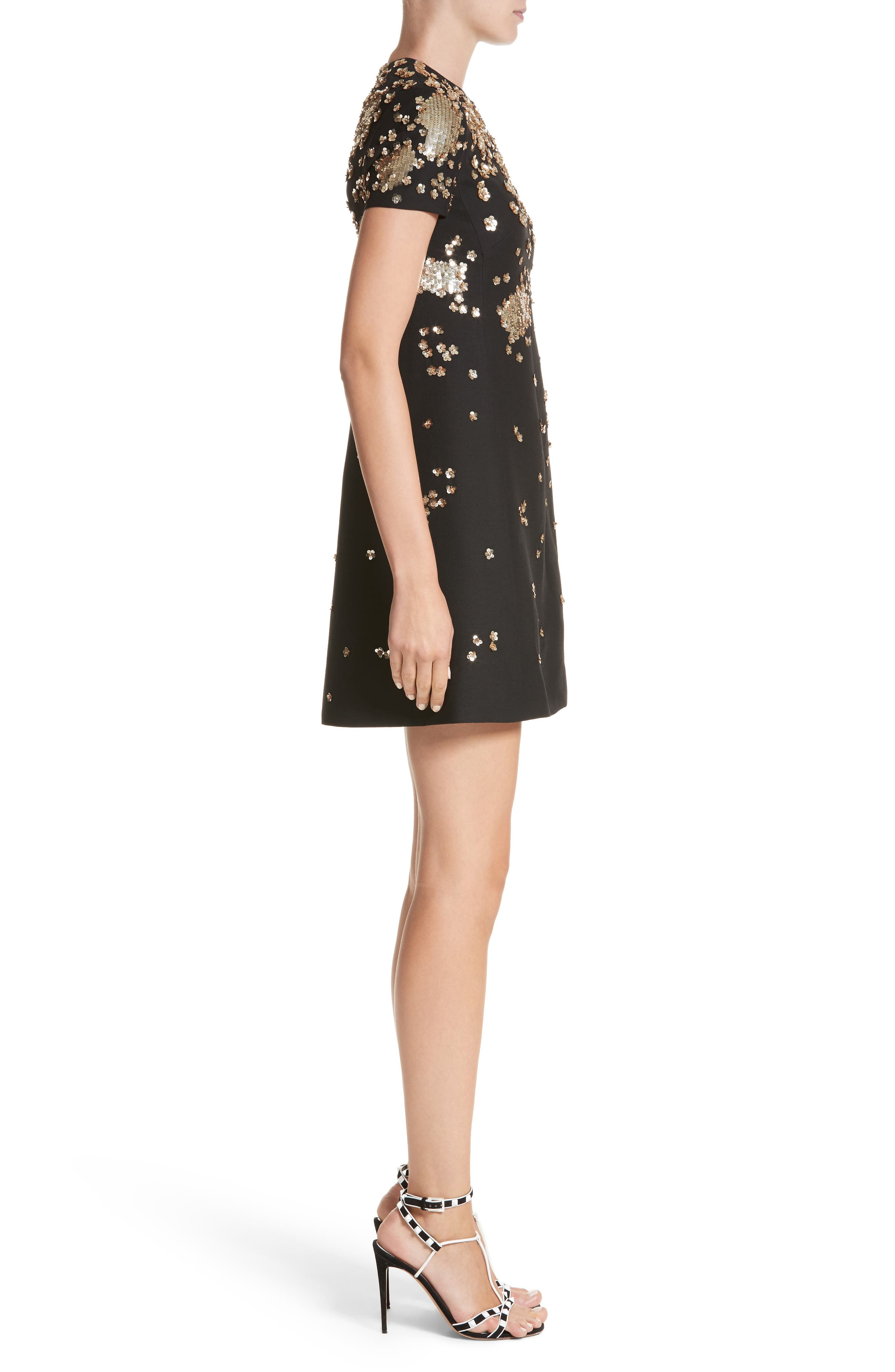 Embellished Wool & Silk Crepe Dress,                             Alternate thumbnail 3, color,                             Black