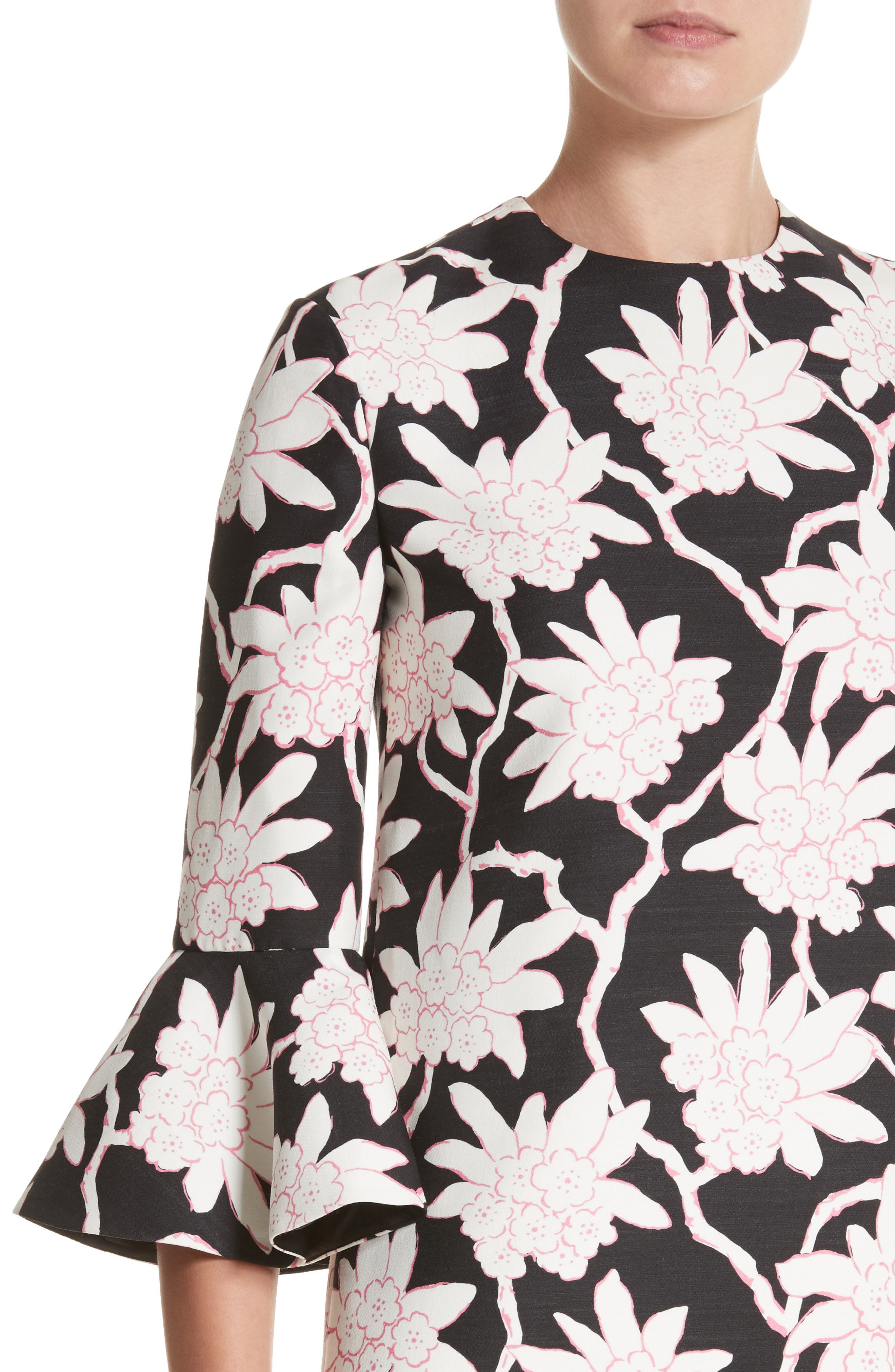 Rhododendron Print Wool & Silk Dress,                             Alternate thumbnail 4, color,                             Black