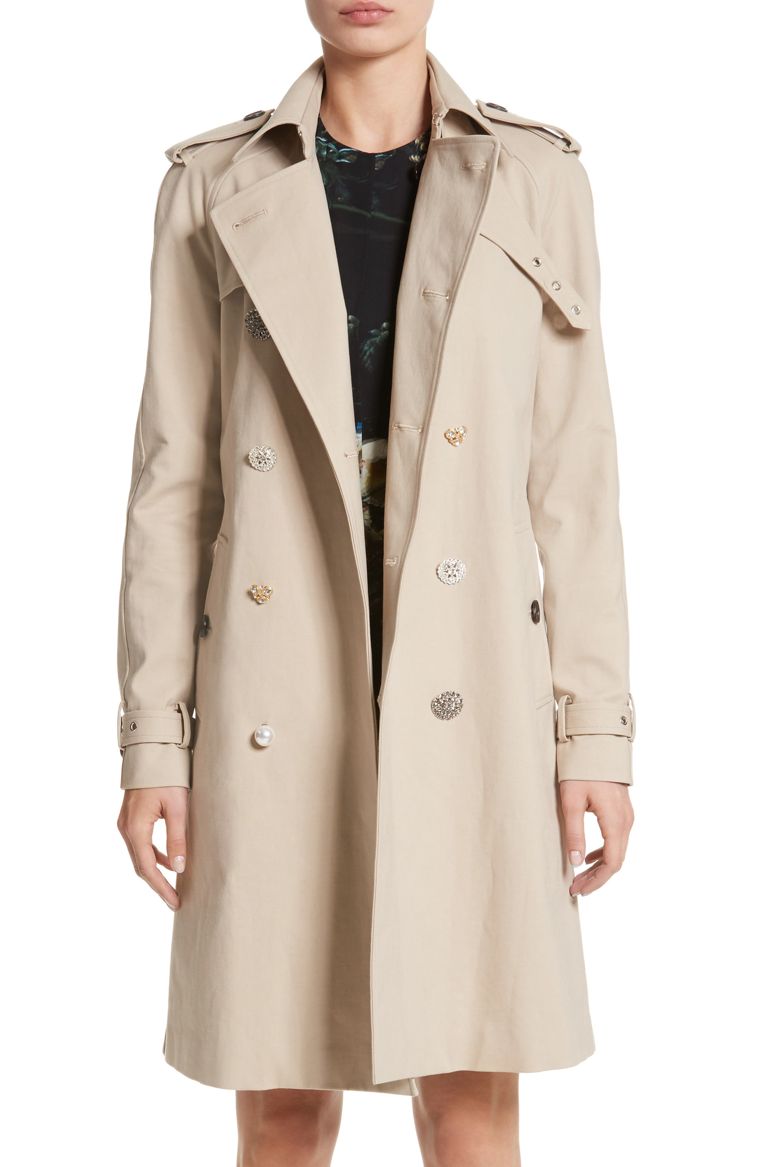 Embellished Button Trench Coat,                         Main,                         color, Khaki