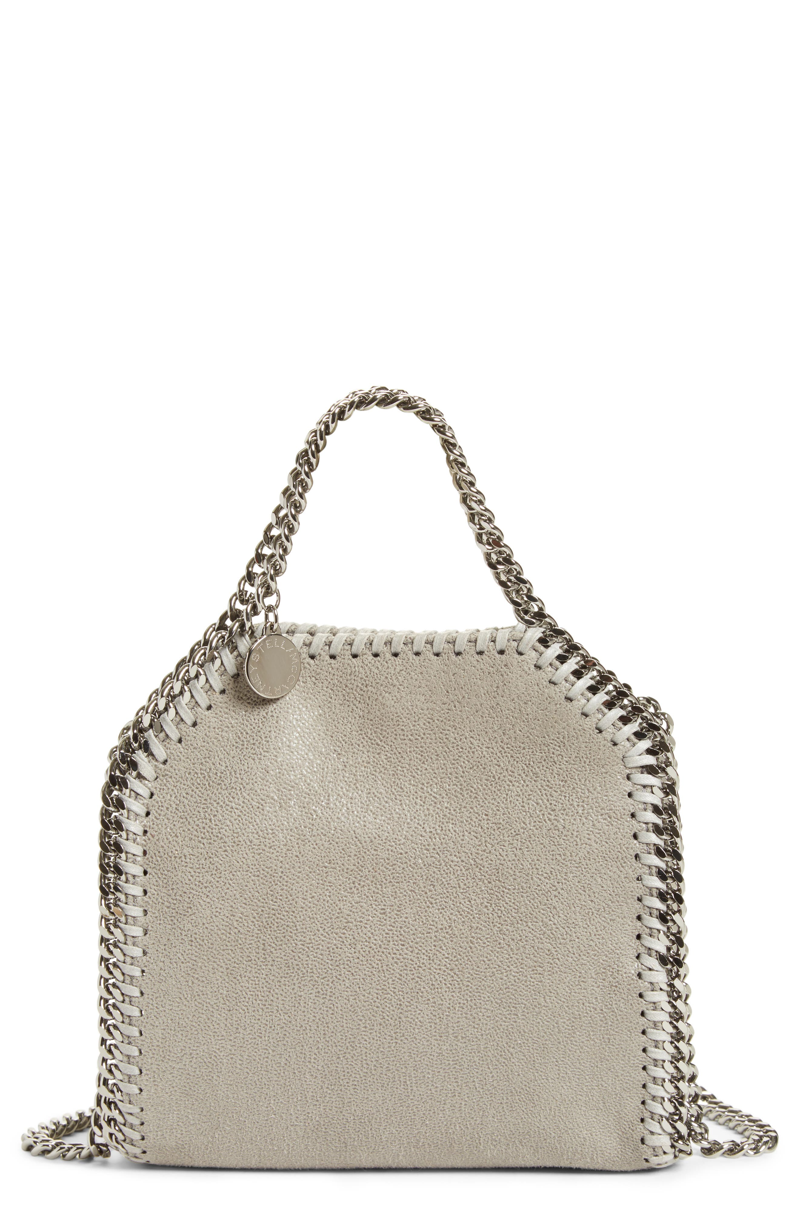 'Tiny Falabella' Faux Leather Crossbody Bag,                         Main,                         color, Light Grey