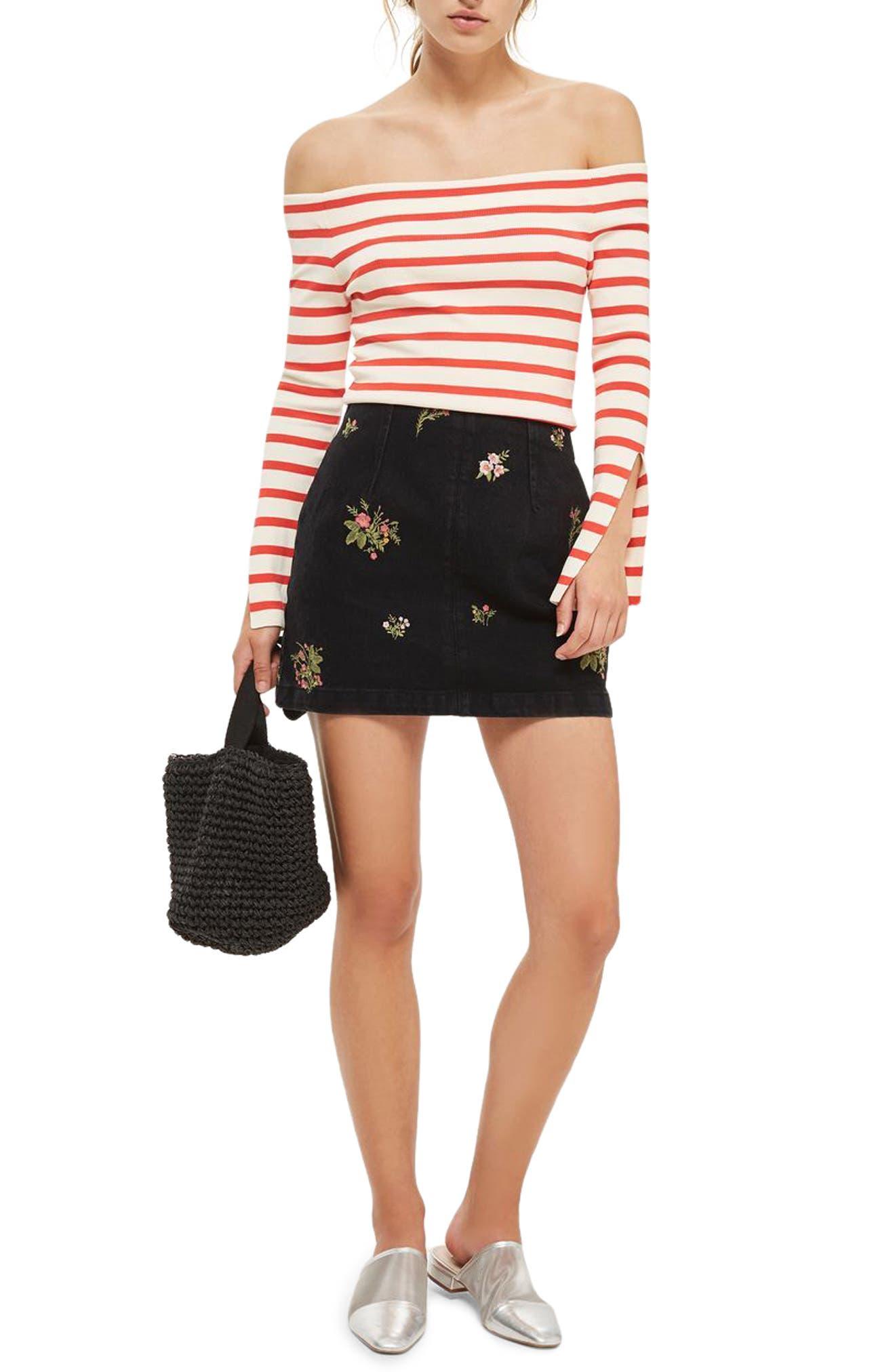 Romantic Floral Denim Miniskirt,                             Alternate thumbnail 2, color,                             Washed Black
