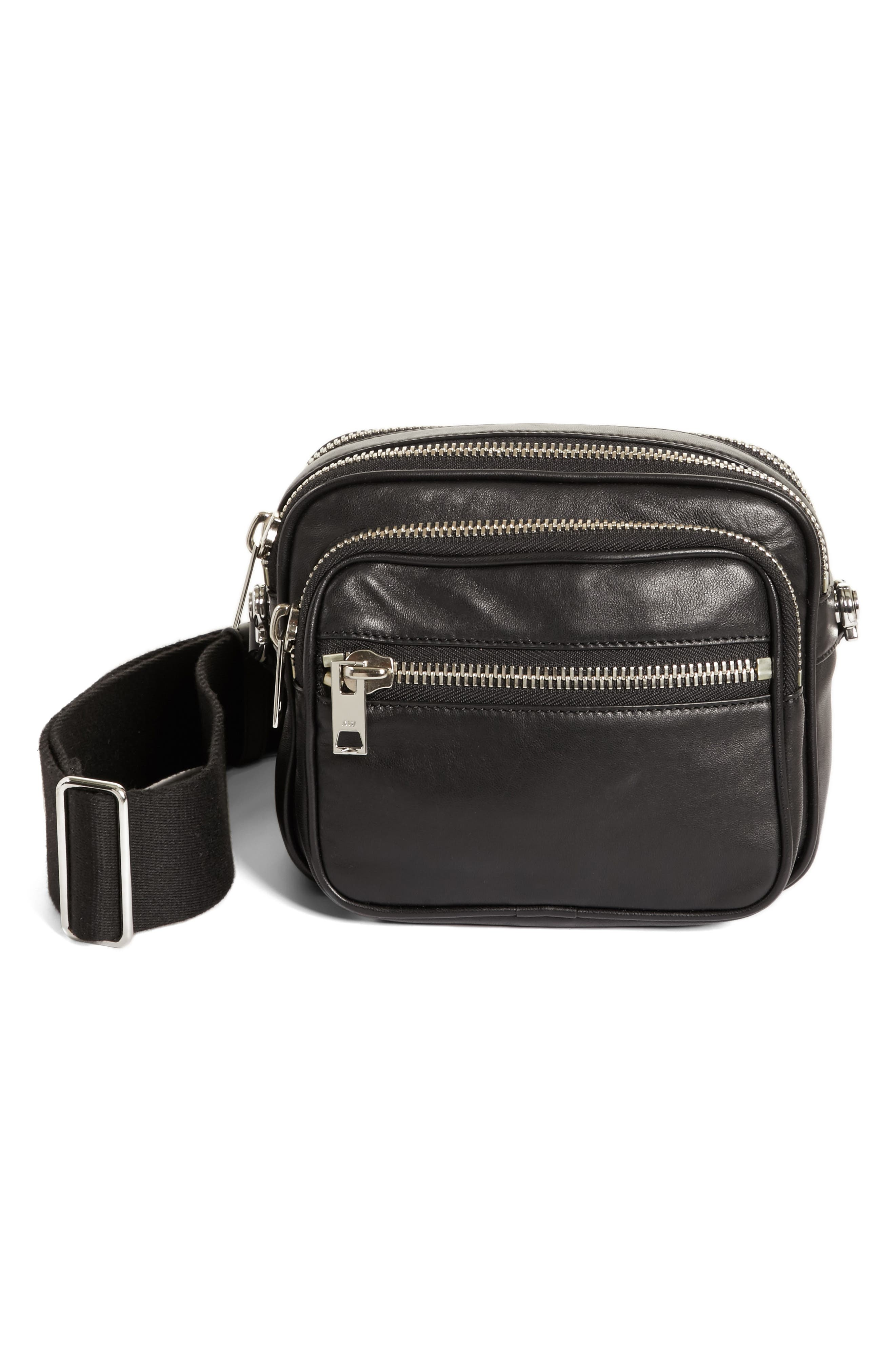 Large Attica Leather Crossbody Bag,                             Main thumbnail 1, color,                             Black