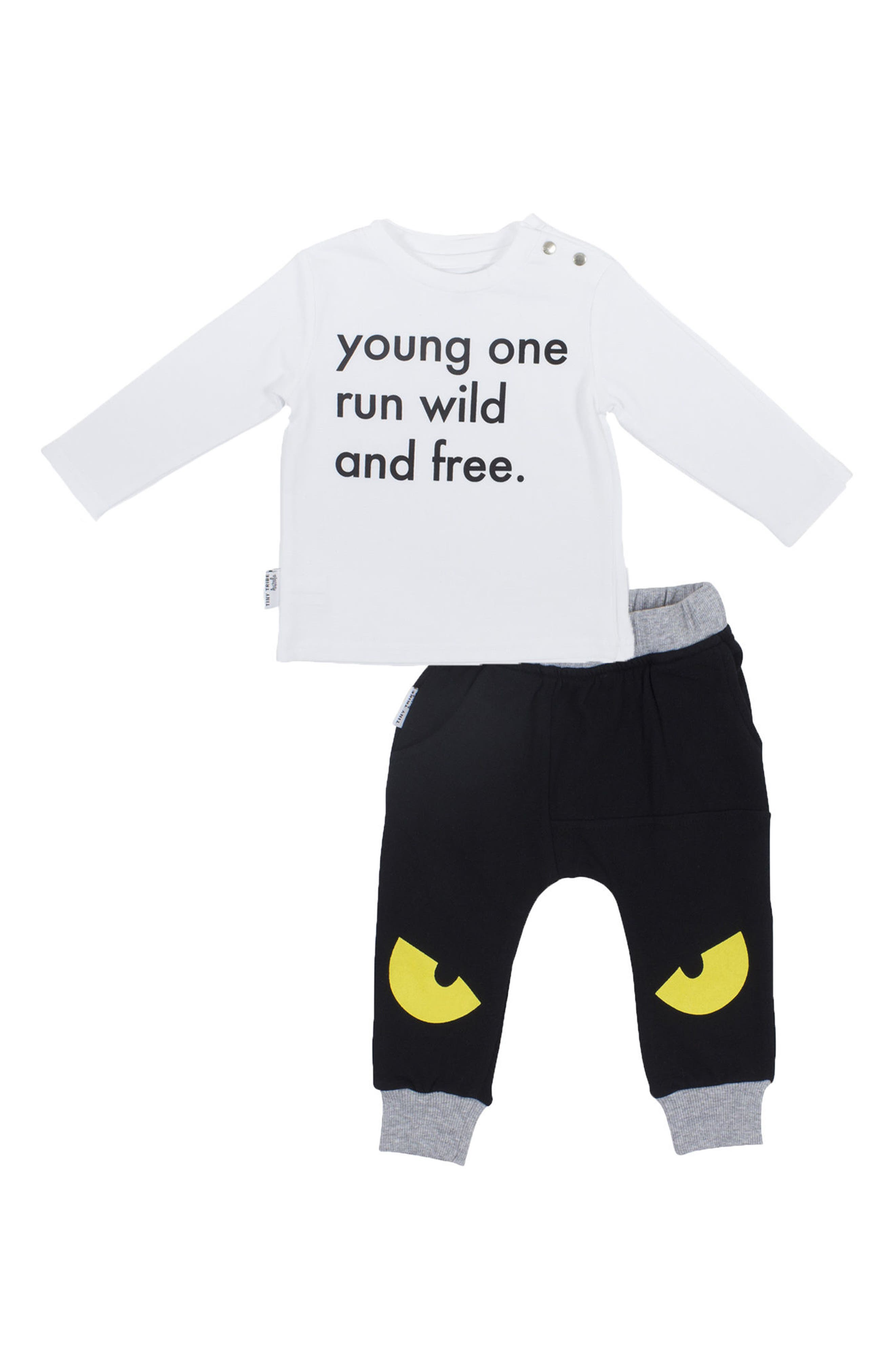 Run Wild & Free T-Shirt & Jogger Pants Set,                             Main thumbnail 1, color,                             White/ Black