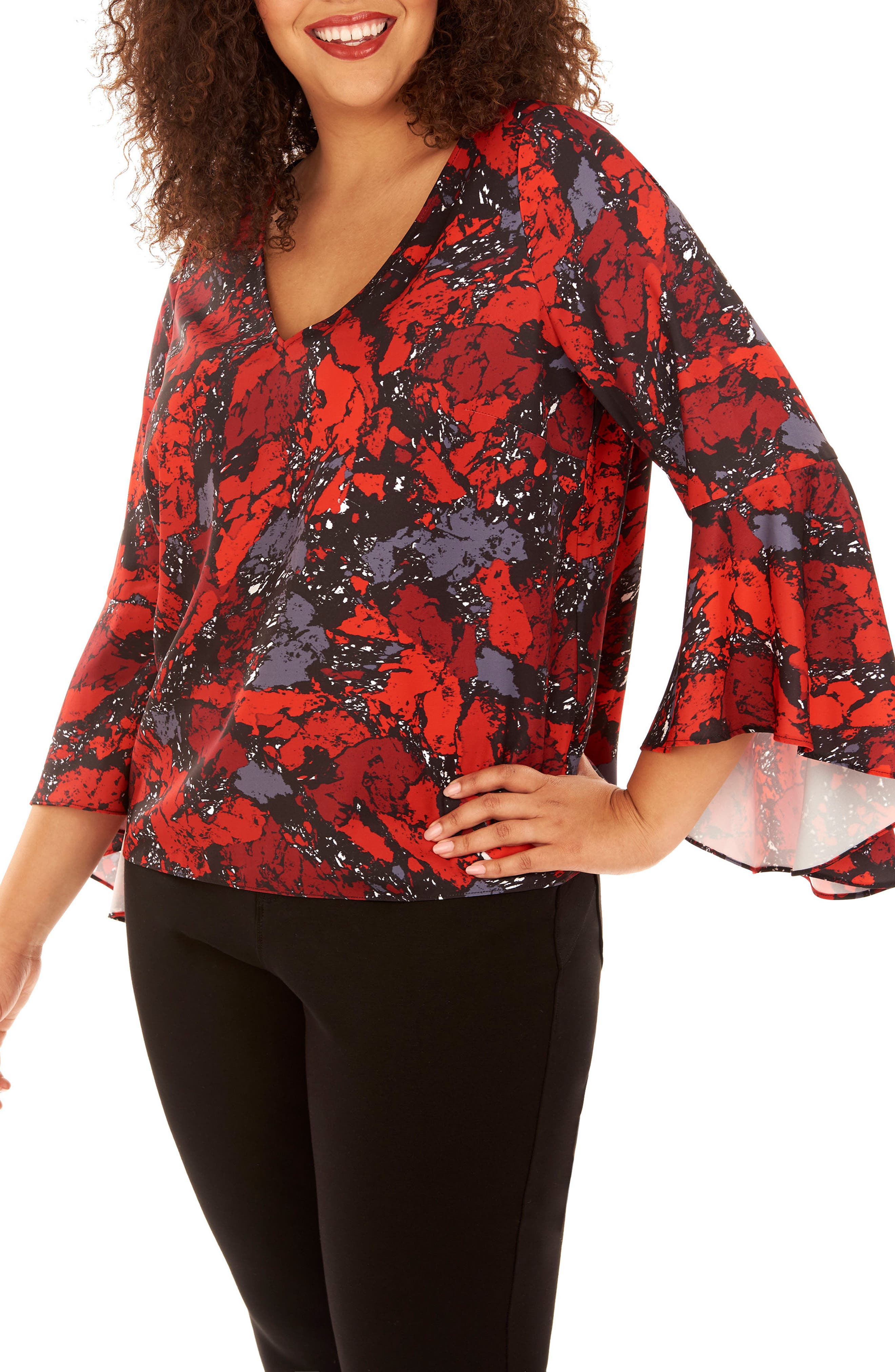 Bell Sleeve Top,                         Main,                         color, Ruby Rock