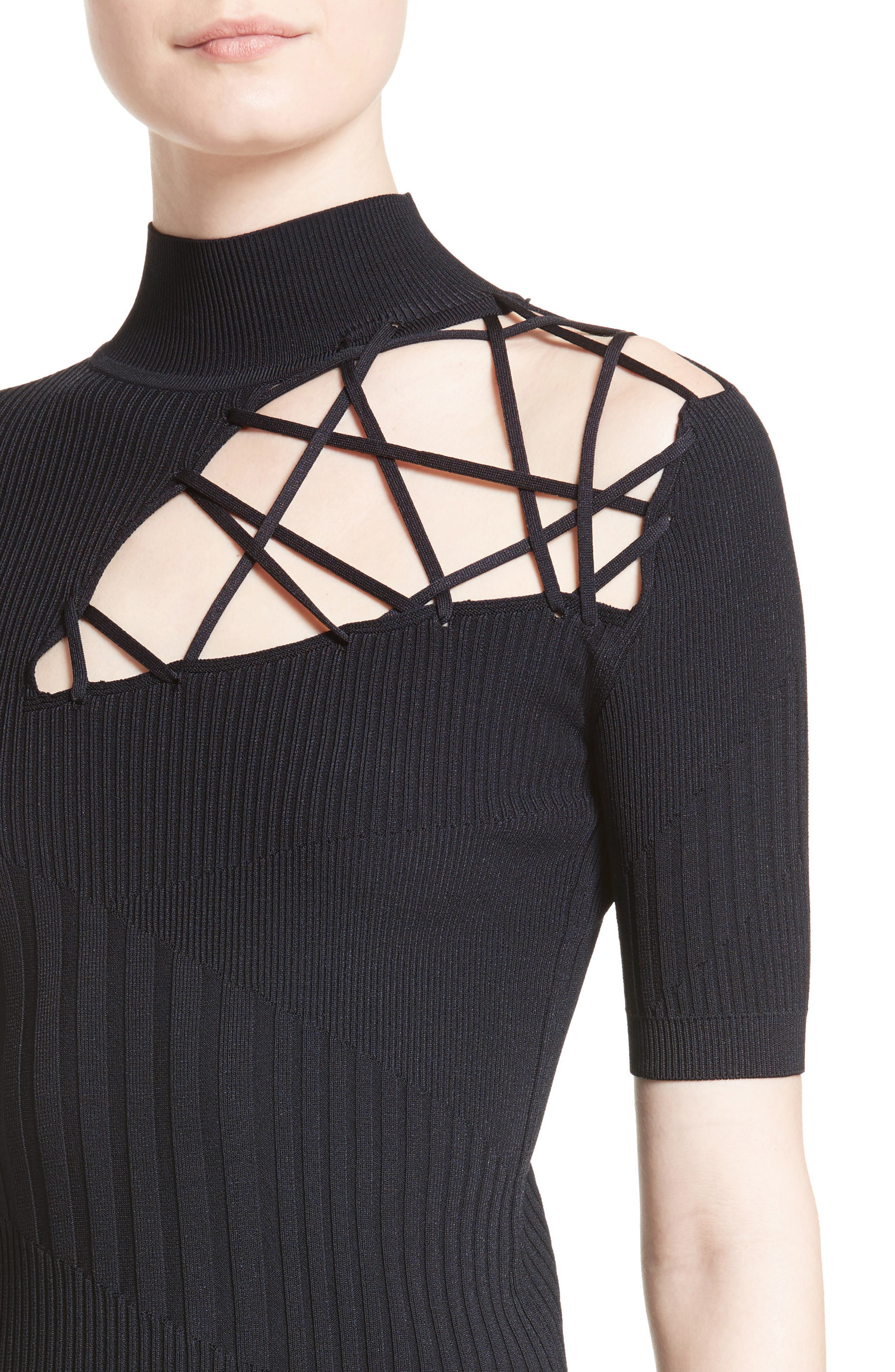 Strappy Cutout Mock Neck Top,                             Alternate thumbnail 4, color,                             Midnight