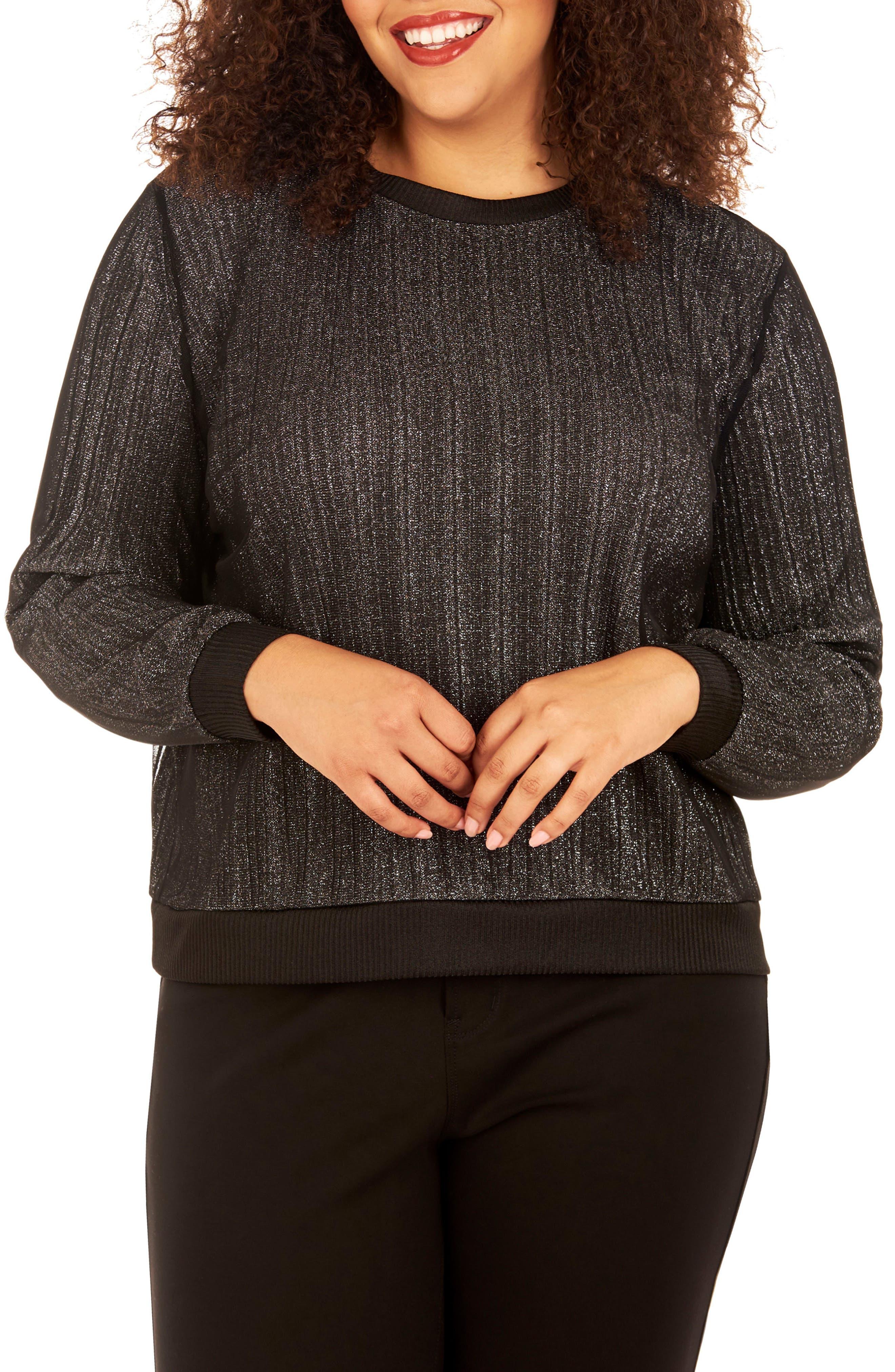 Glitter Knit Top,                         Main,                         color, Silver/ Black