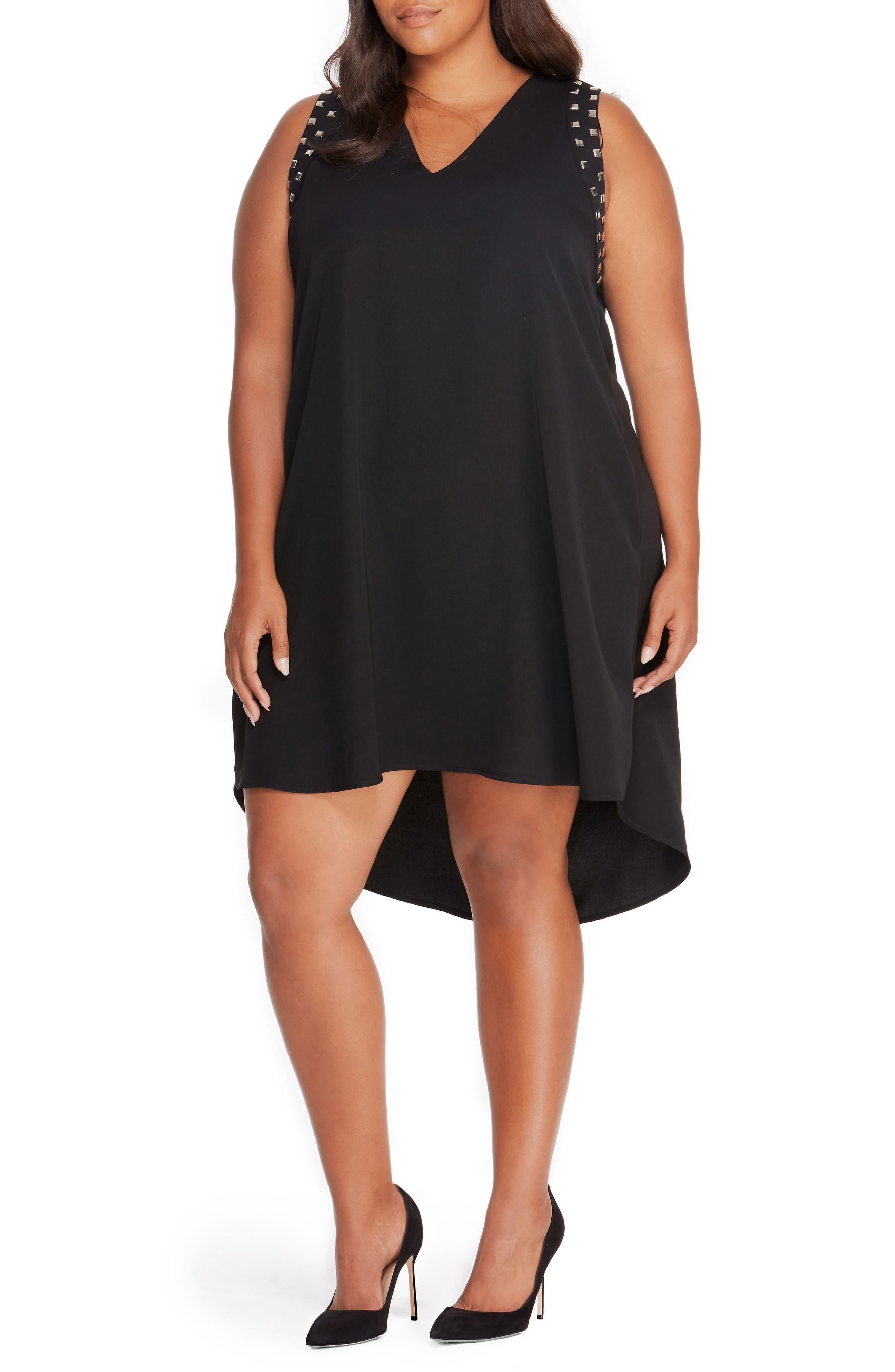 Studded Shift Dress,                             Main thumbnail 1, color,                             Black Beauty