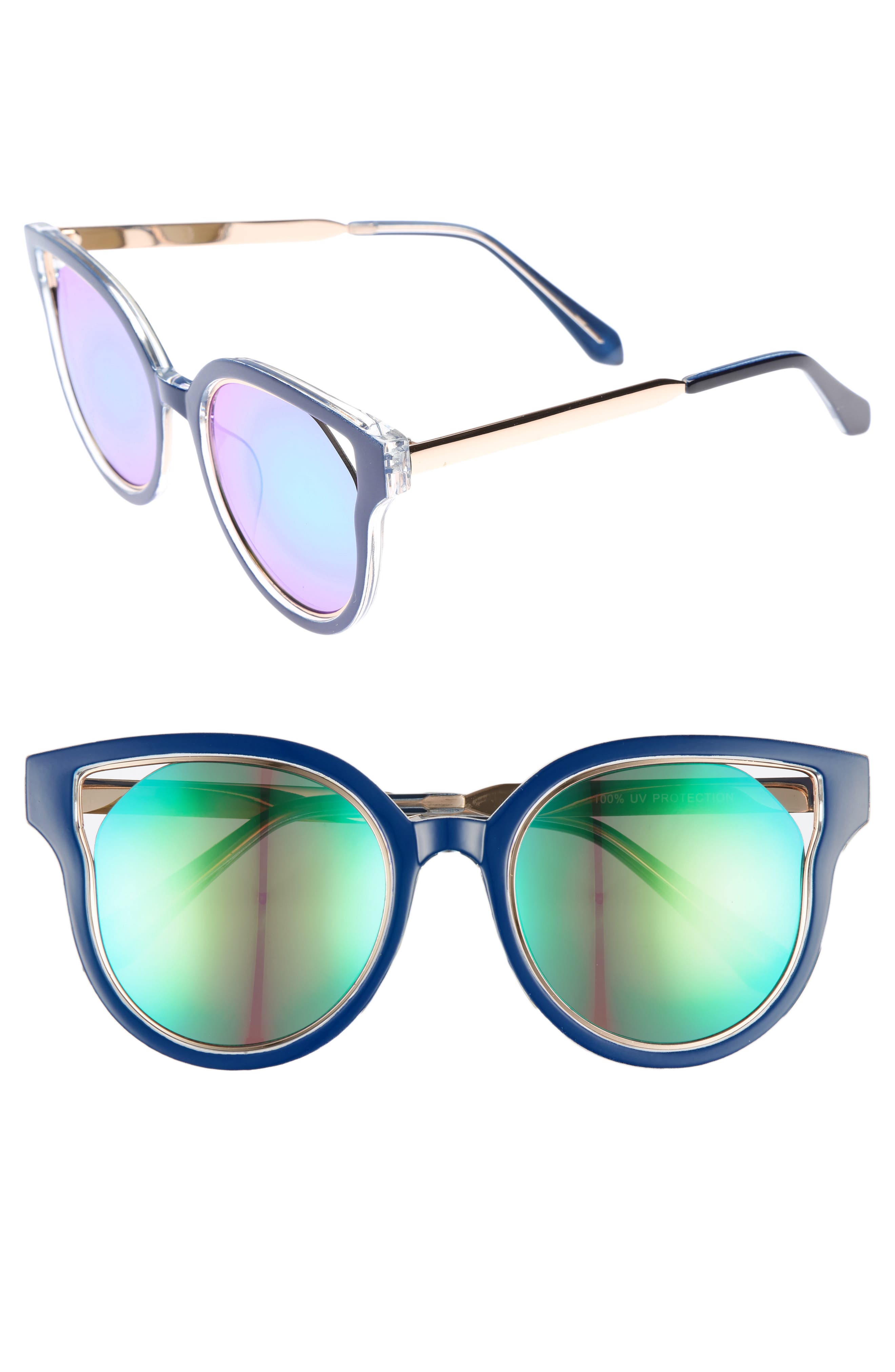 Leith 53mm Mirrored Enamel Cutout Sunglasses