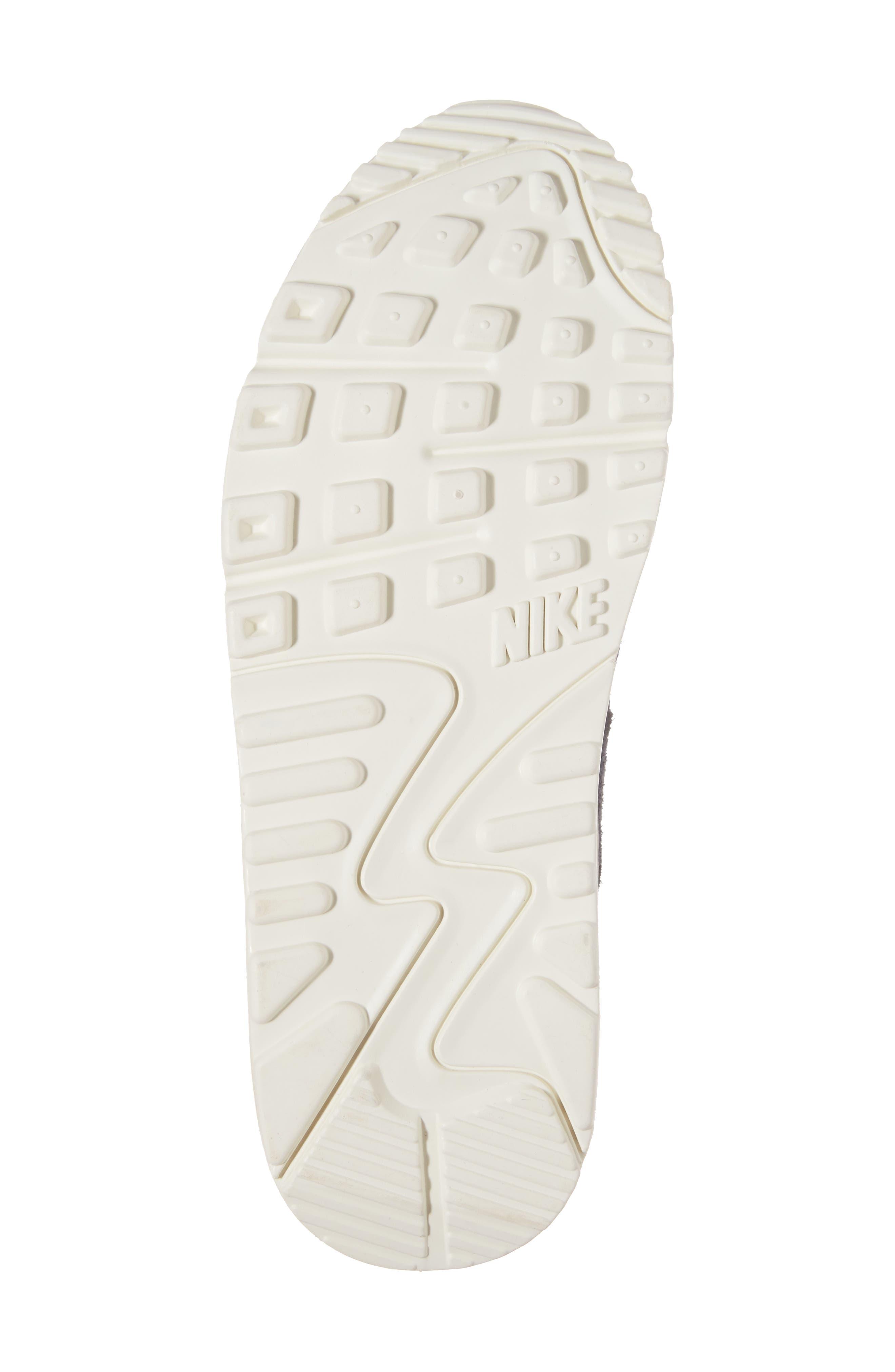 Air Max 90 Premium Sneaker,                             Alternate thumbnail 6, color,                             Dark Obsidian/ Sail/ Mushroom