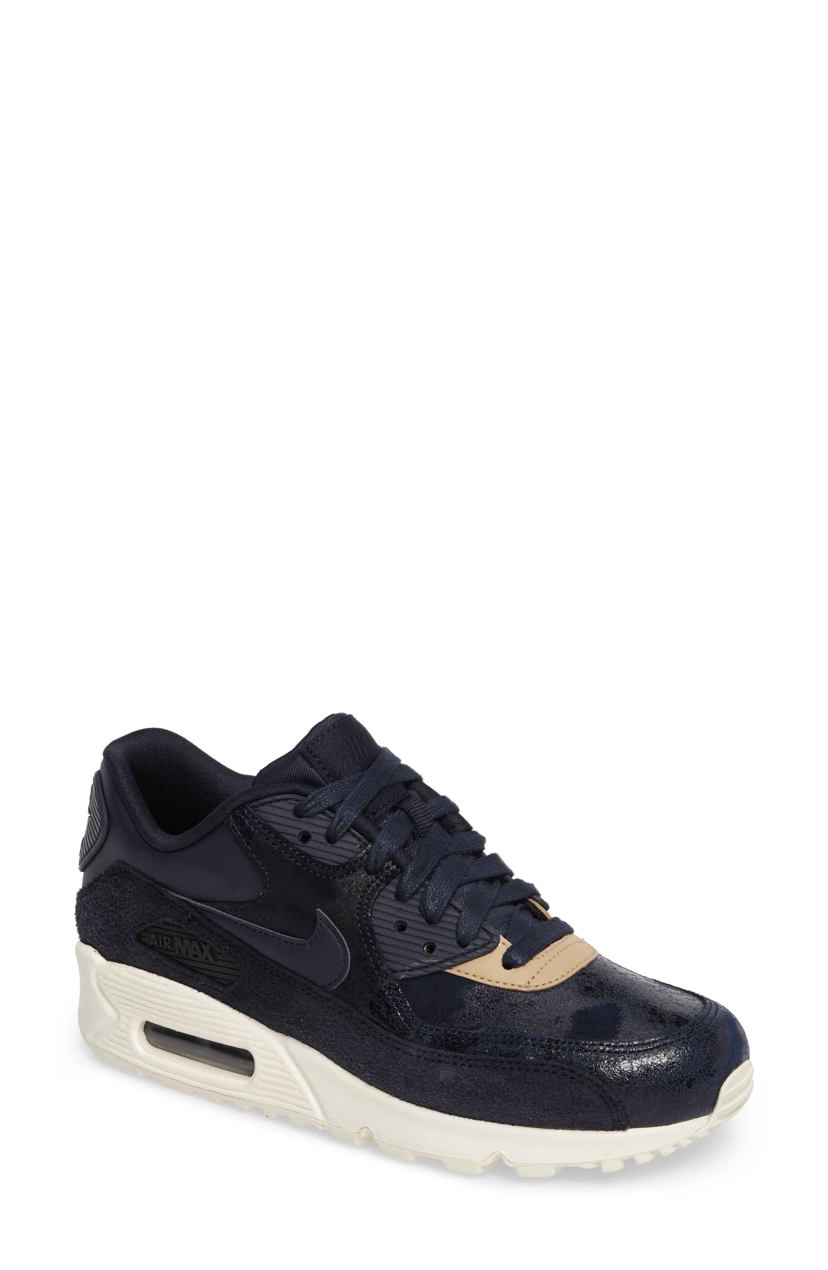 Air Max 90 Premium Sneaker,                             Main thumbnail 1, color,                             Dark Obsidian/ Sail/ Mushroom