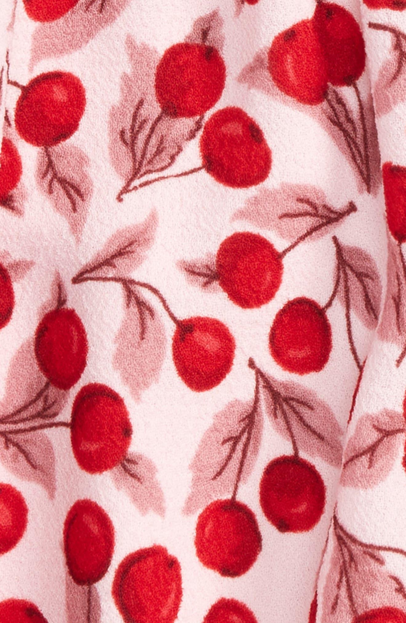 cherry print flutter sleeve dress,                             Alternate thumbnail 2, color,                             Mon Cheri