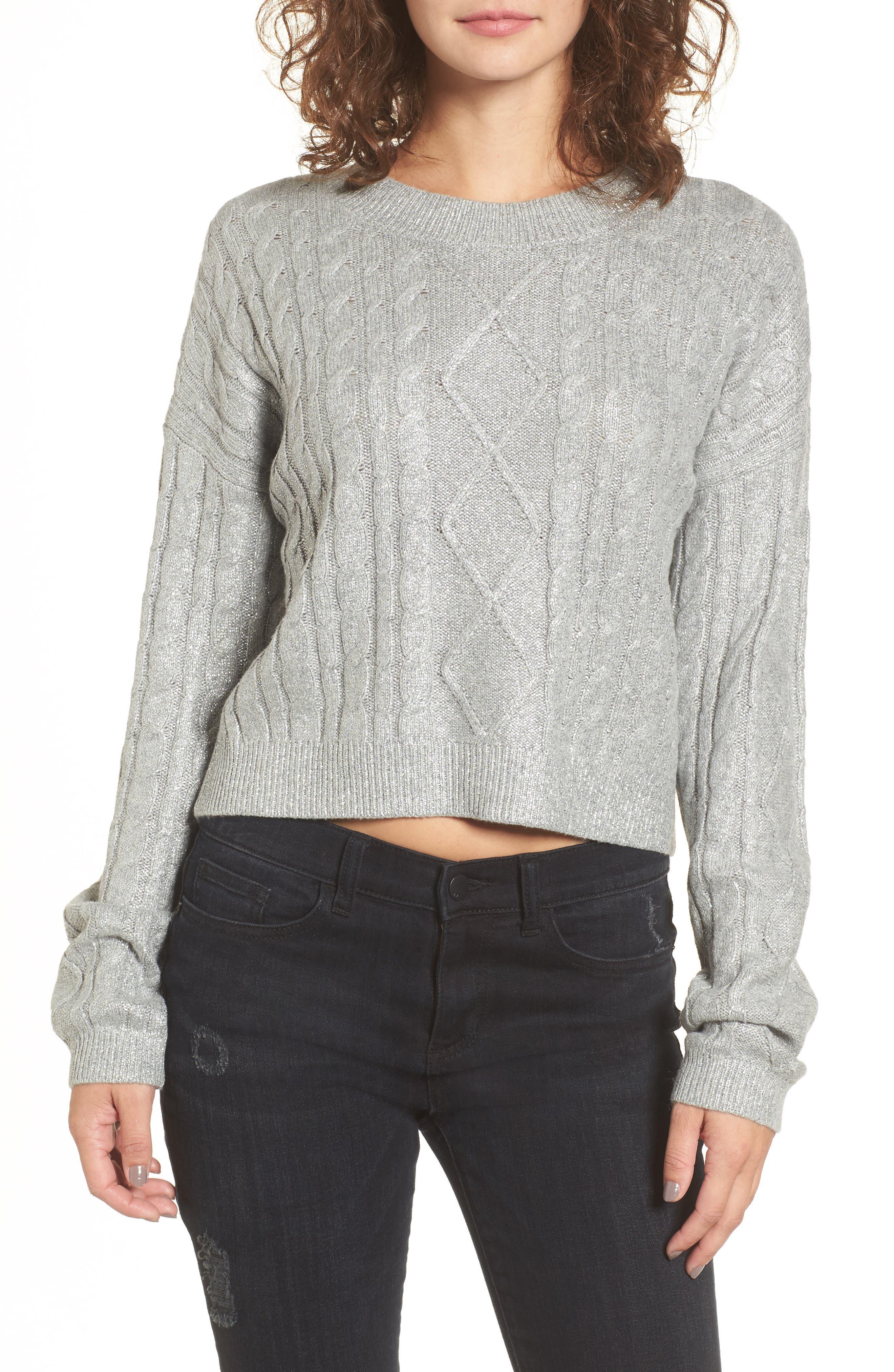 Metallic Cable Knit Sweater,                         Main,                         color, Grey Medium Heather Foil