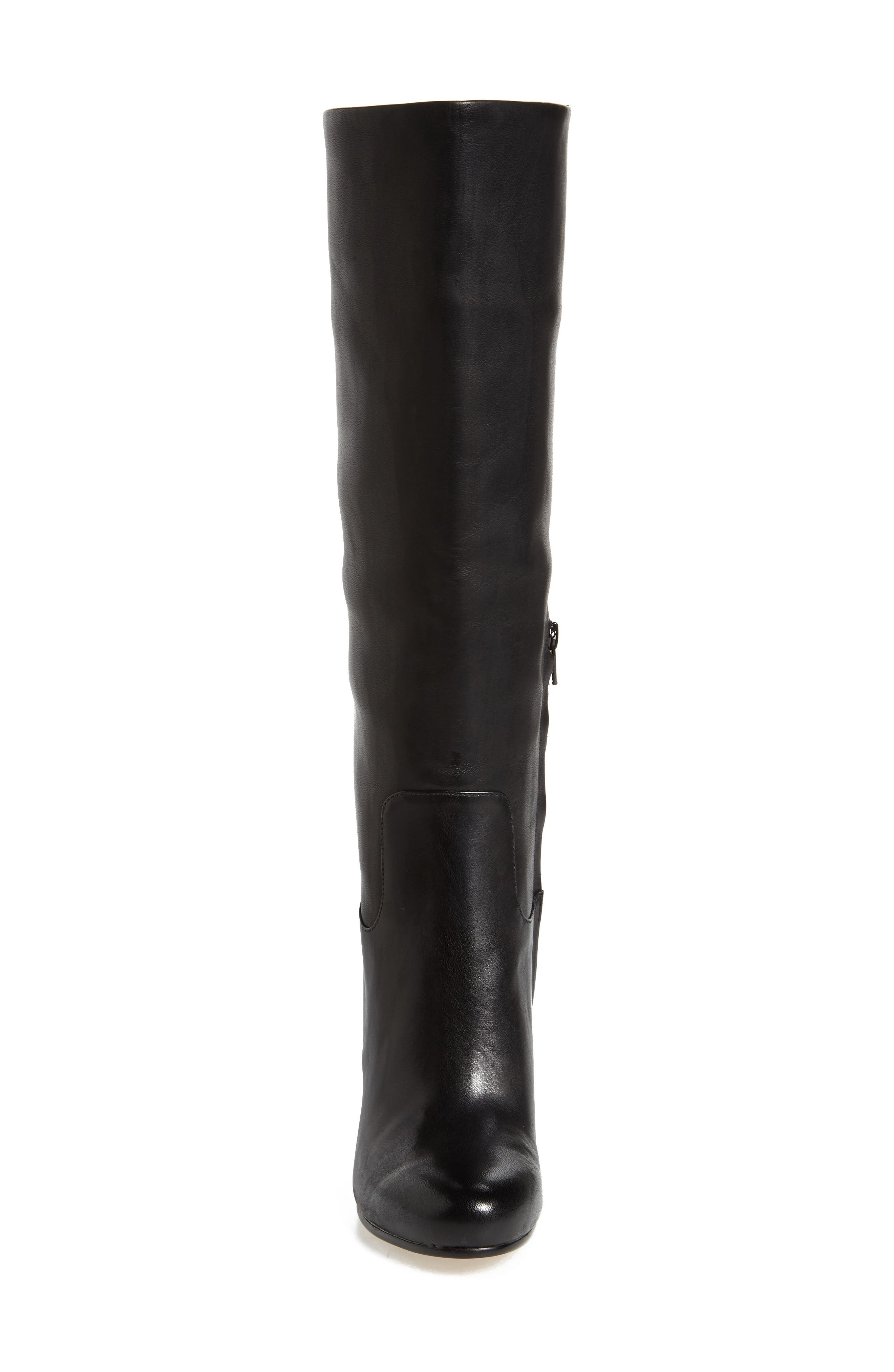 Janice Knee High Boot,                             Alternate thumbnail 4, color,                             Black Calf Leather