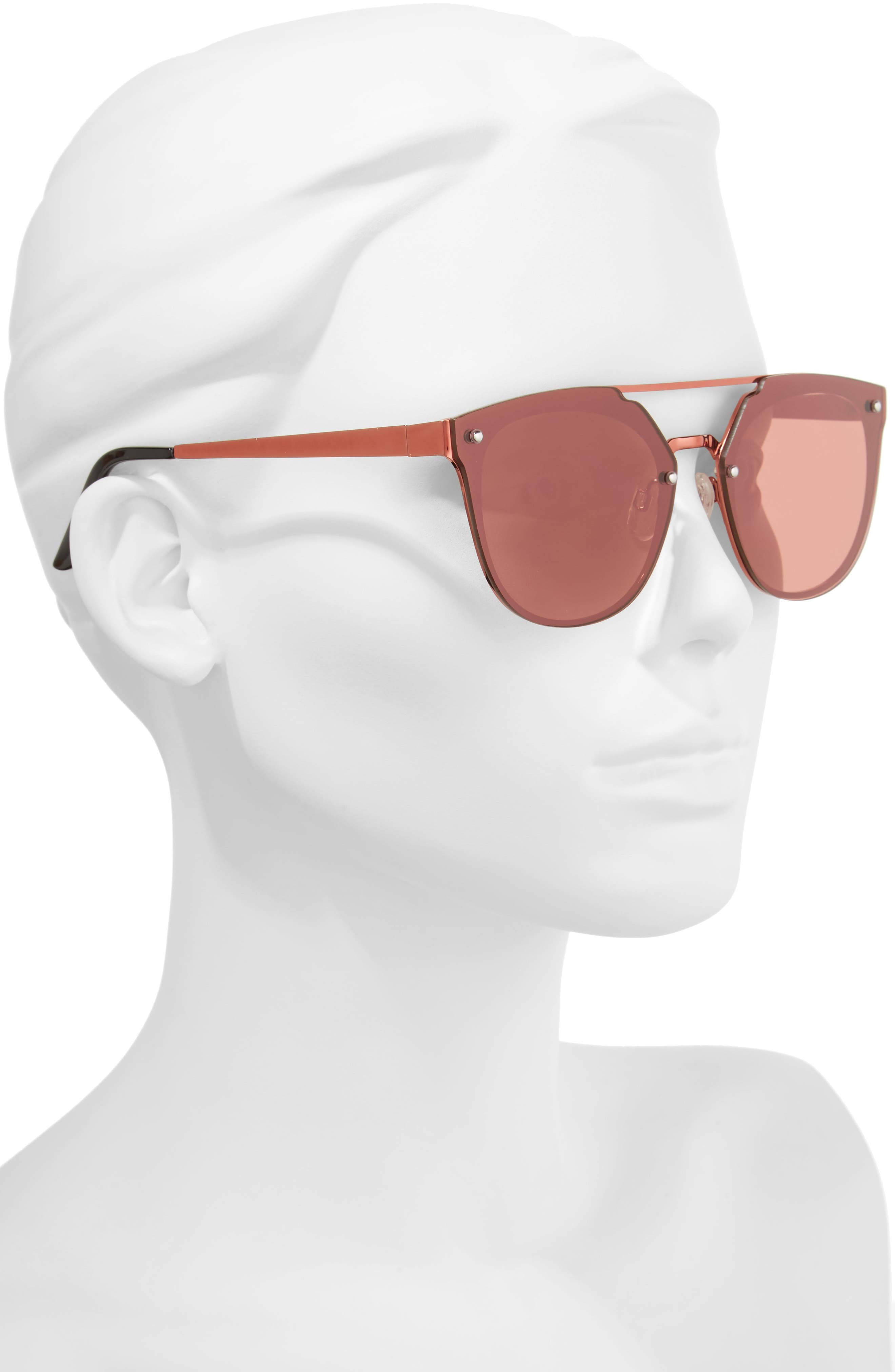 Mirrored Aviator Sunglasses,                             Alternate thumbnail 2, color,                             Pink/ Pink