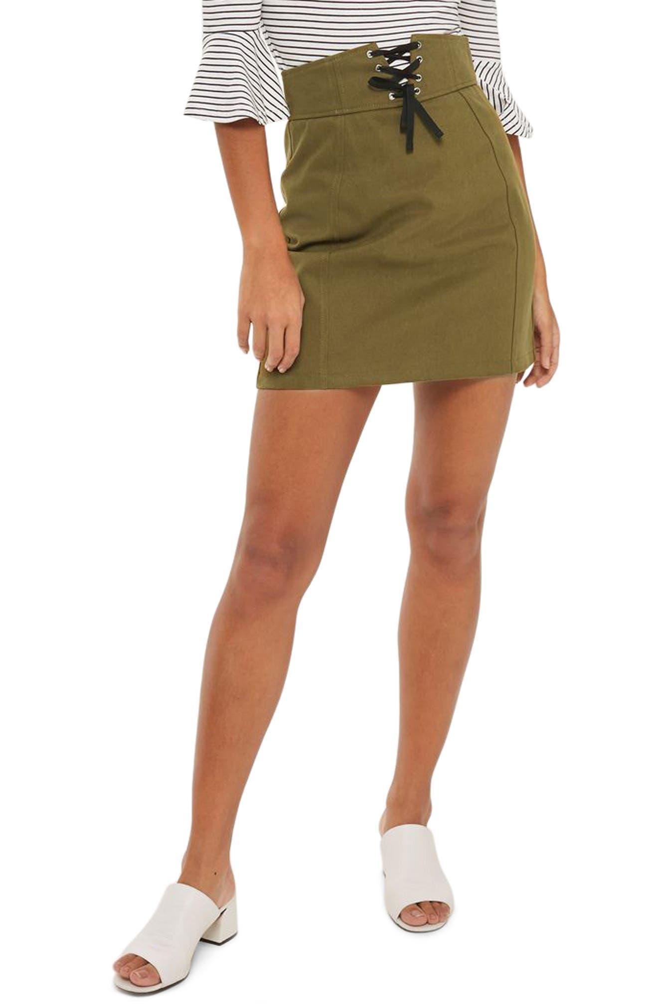 Main Image - Topshop Corset Lace-Up Skirt