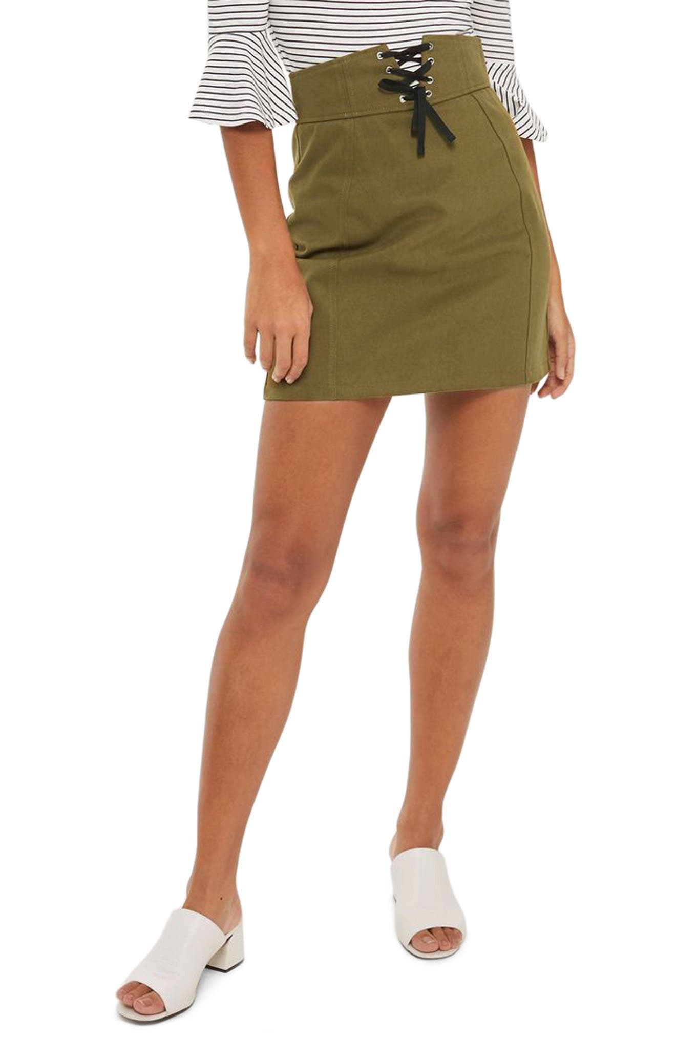 Corset Lace-Up Skirt,                         Main,                         color, Olive