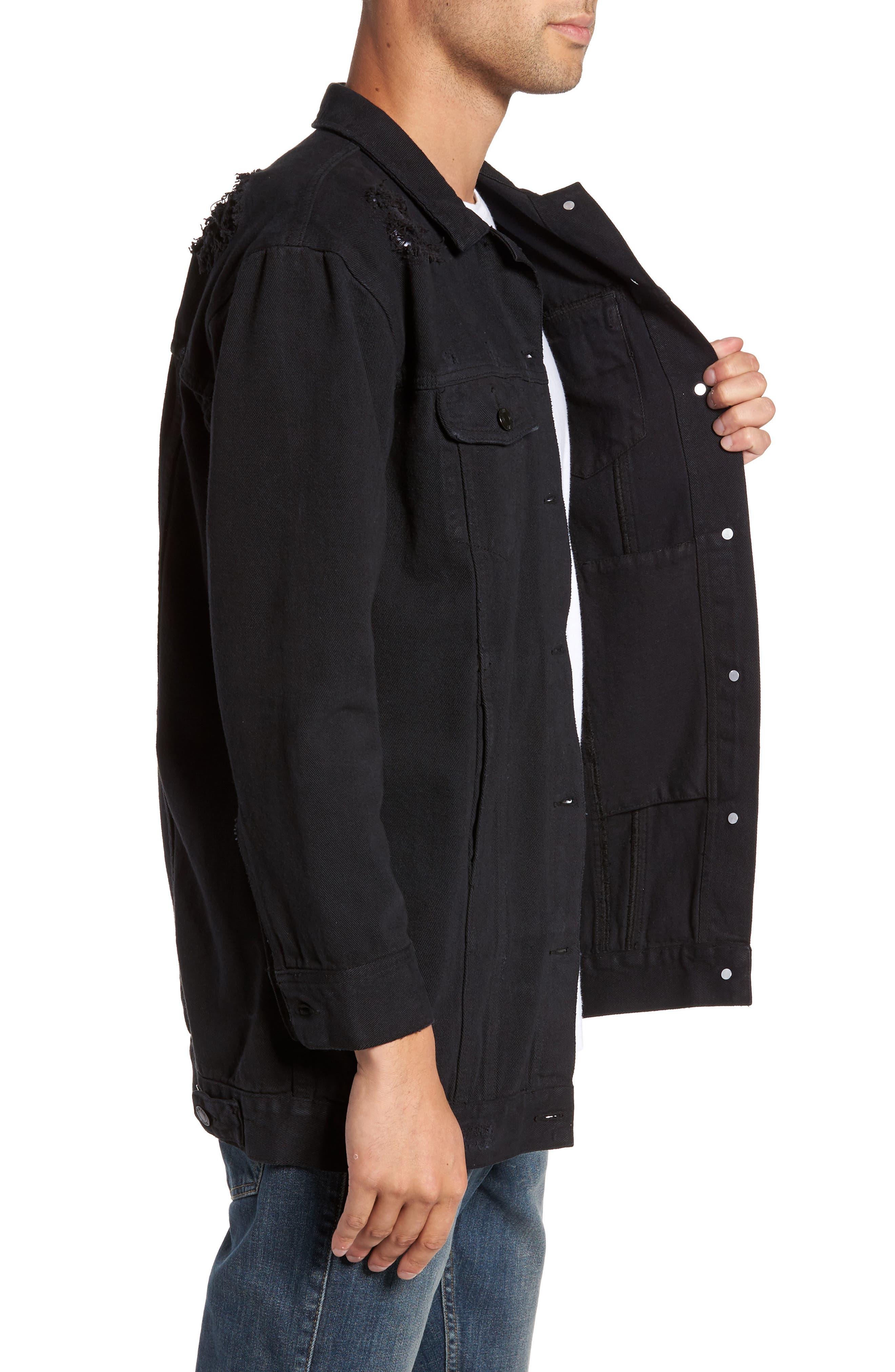 Lindso Distressed Denim Jacket,                             Alternate thumbnail 3, color,                             Black Damage