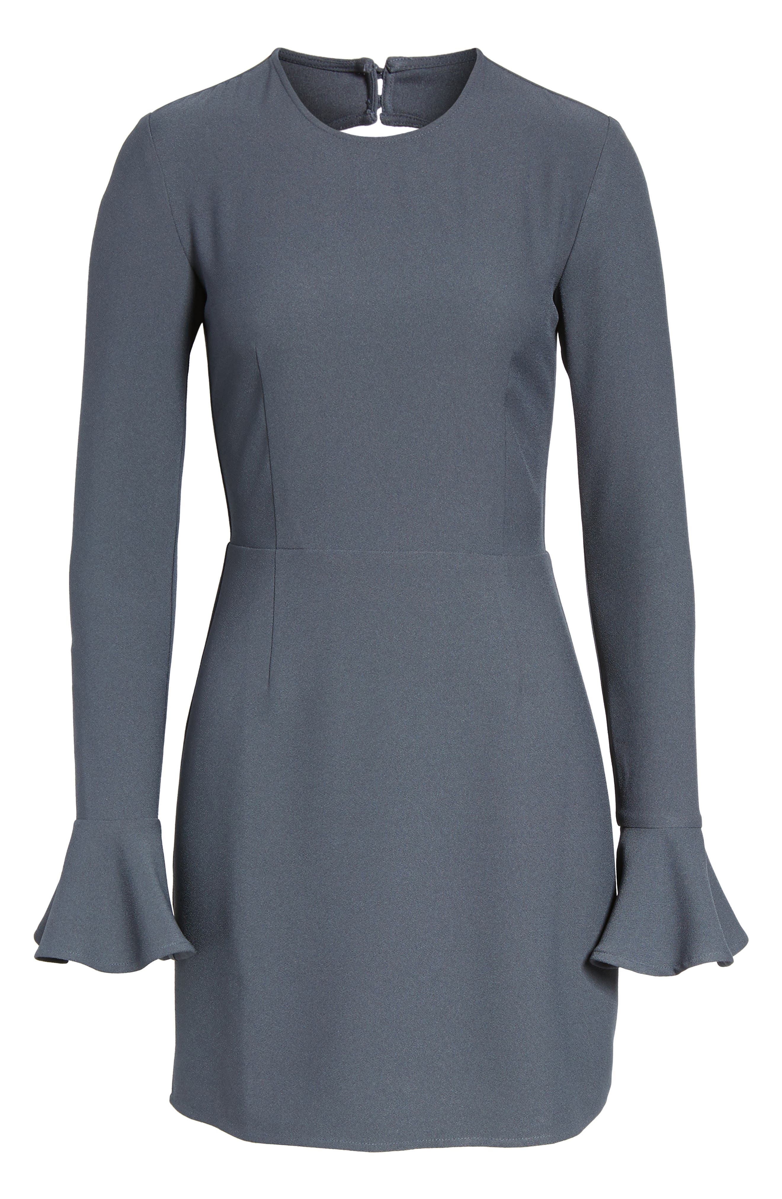 Bell Sleeve Sheath Dress,                             Alternate thumbnail 6, color,                             Navy India Ink
