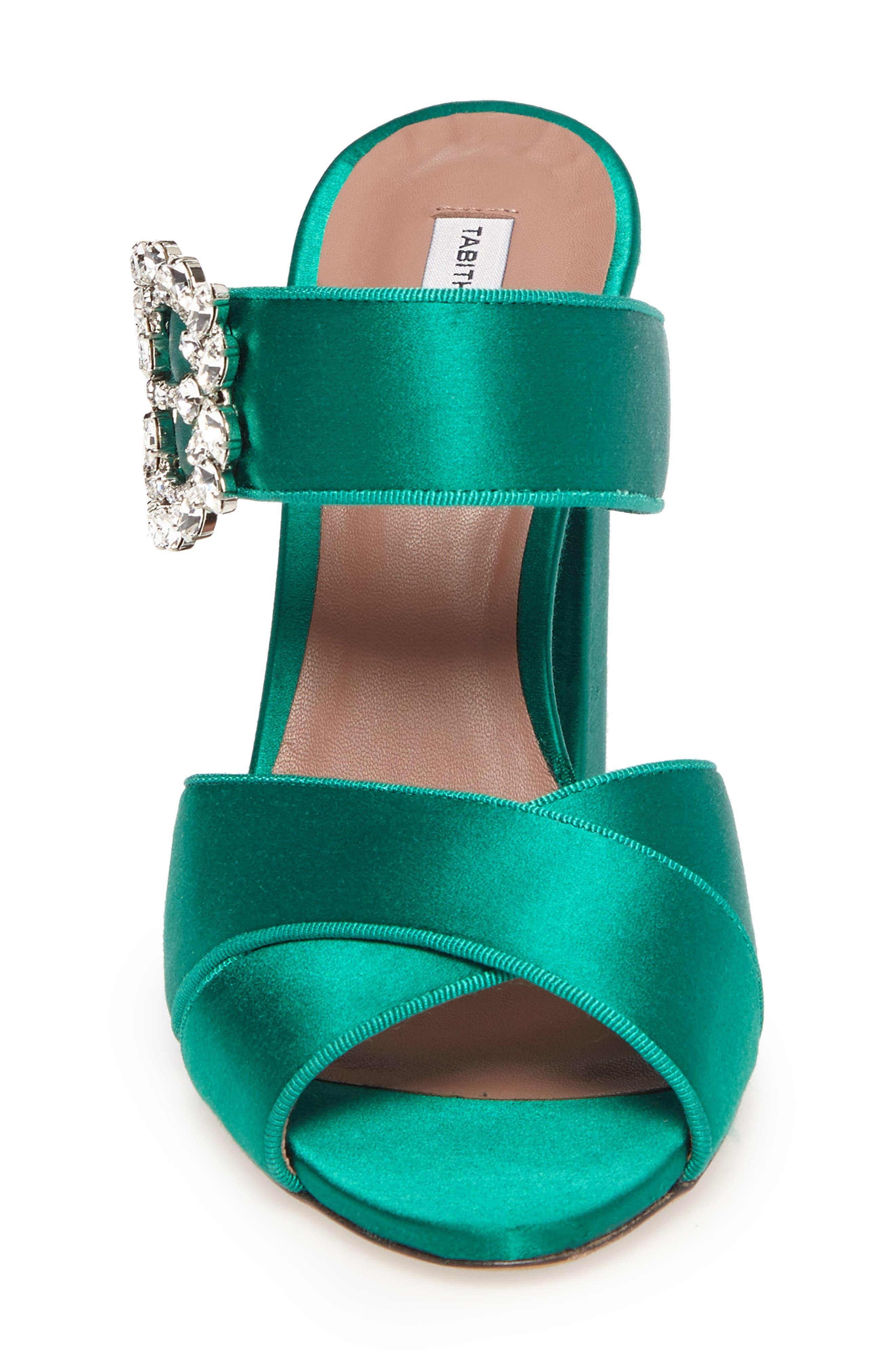 Reyner Crystal Buckle Sandal,                             Alternate thumbnail 4, color,                             Emerald Green