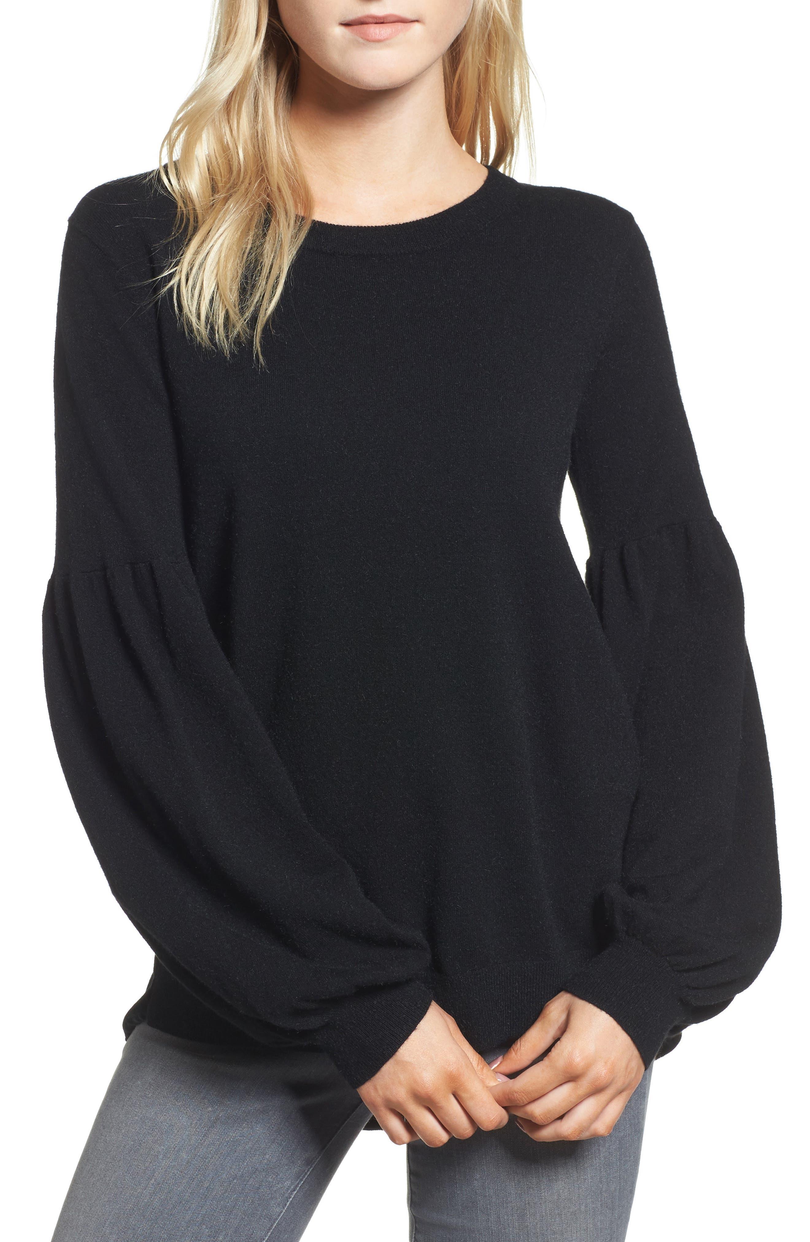 Velvet Back Sweater,                             Main thumbnail 1, color,                             Black