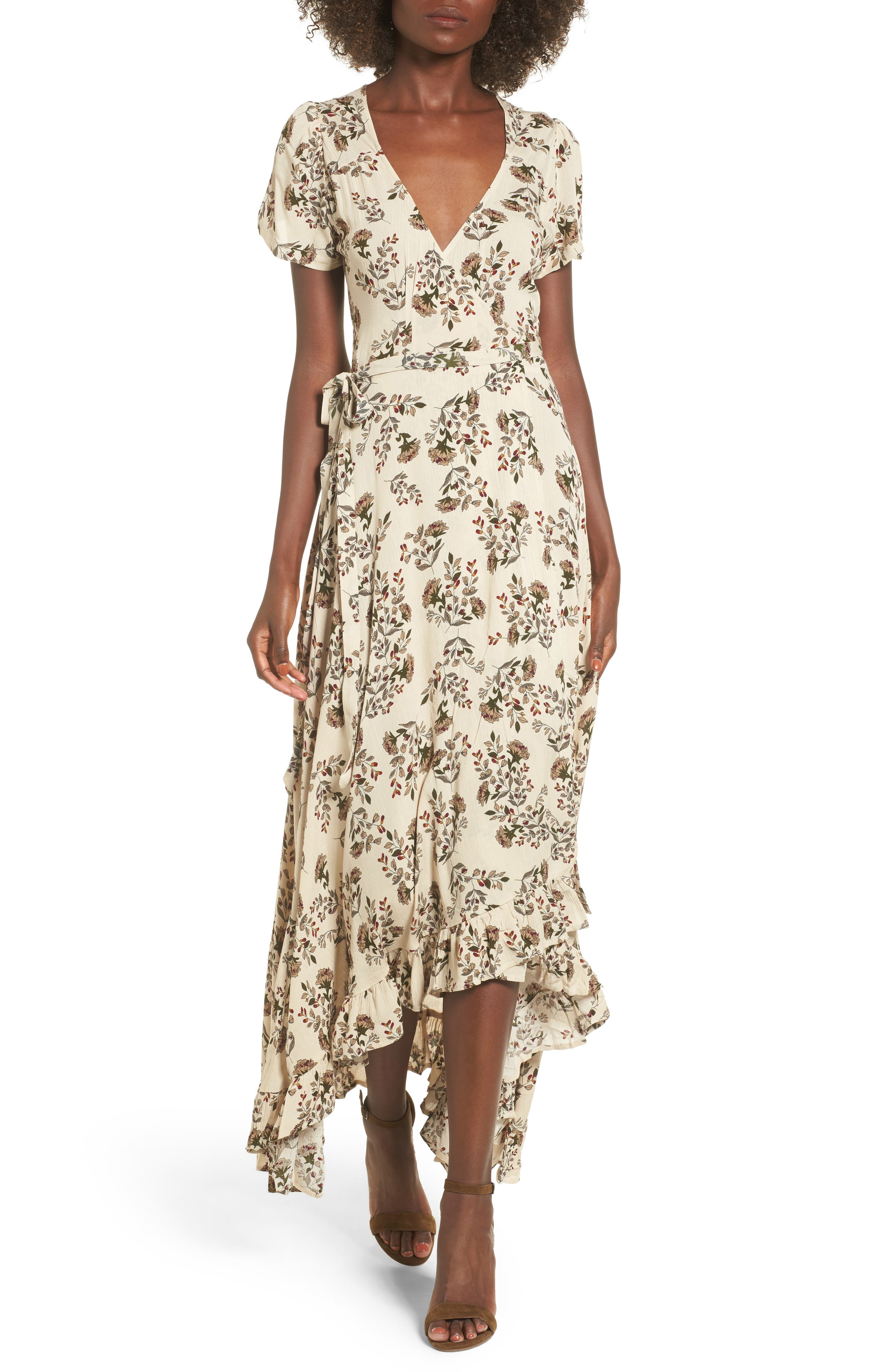 Taryn High/Low Wrap Dress,                         Main,                         color, Ivory