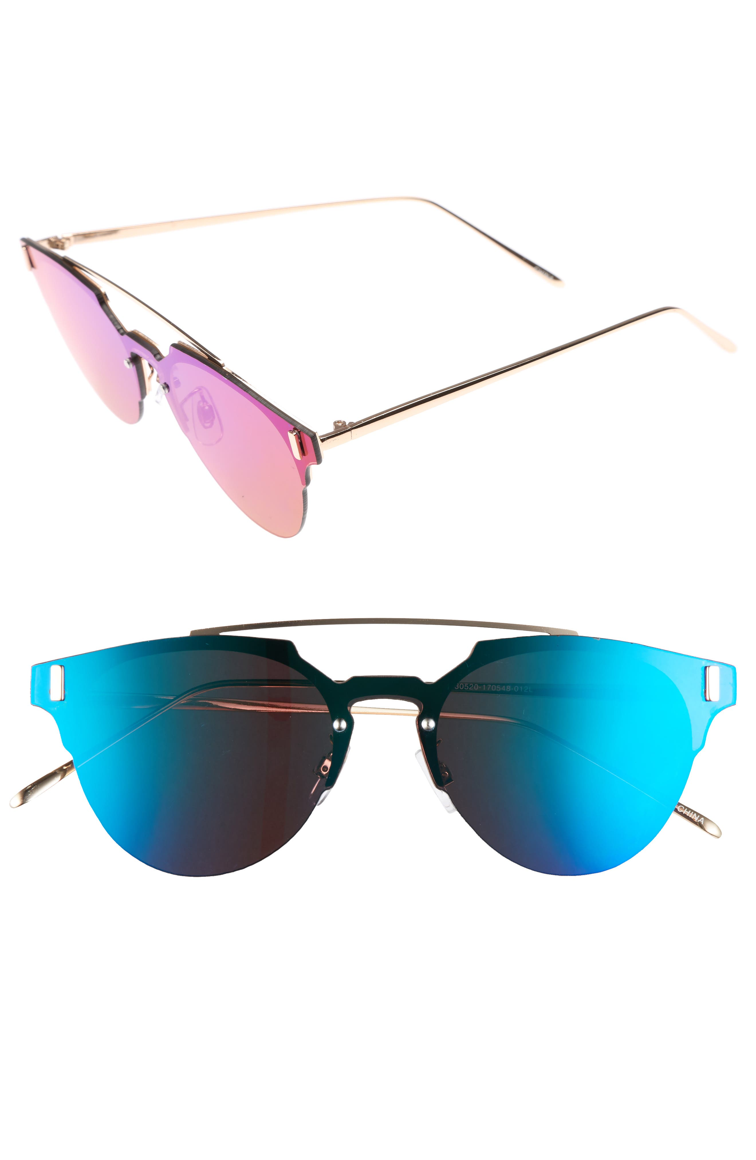 50mm Mirrored Round Sunglasses,                         Main,                         color, Blue