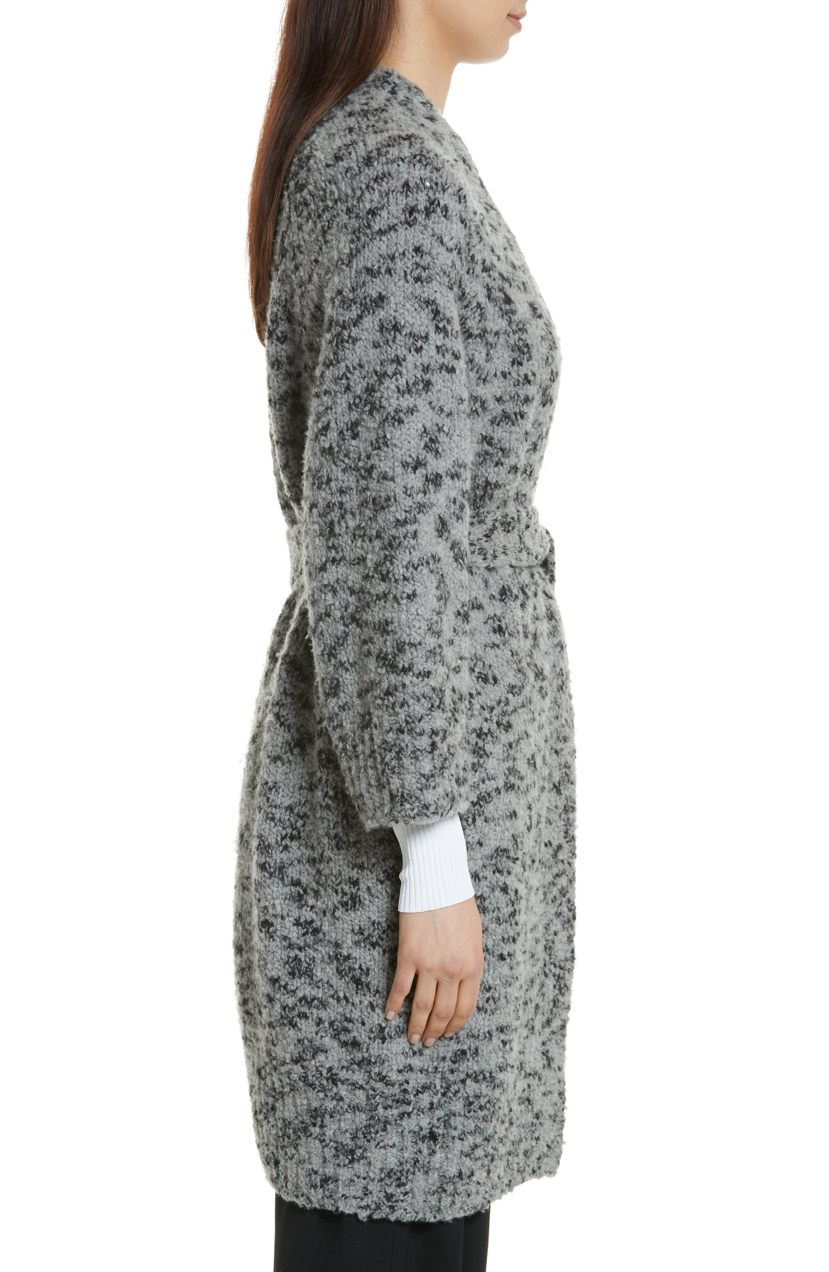 Textured Wool Blend Cardigan,                             Alternate thumbnail 3, color,                             Grey/ Black
