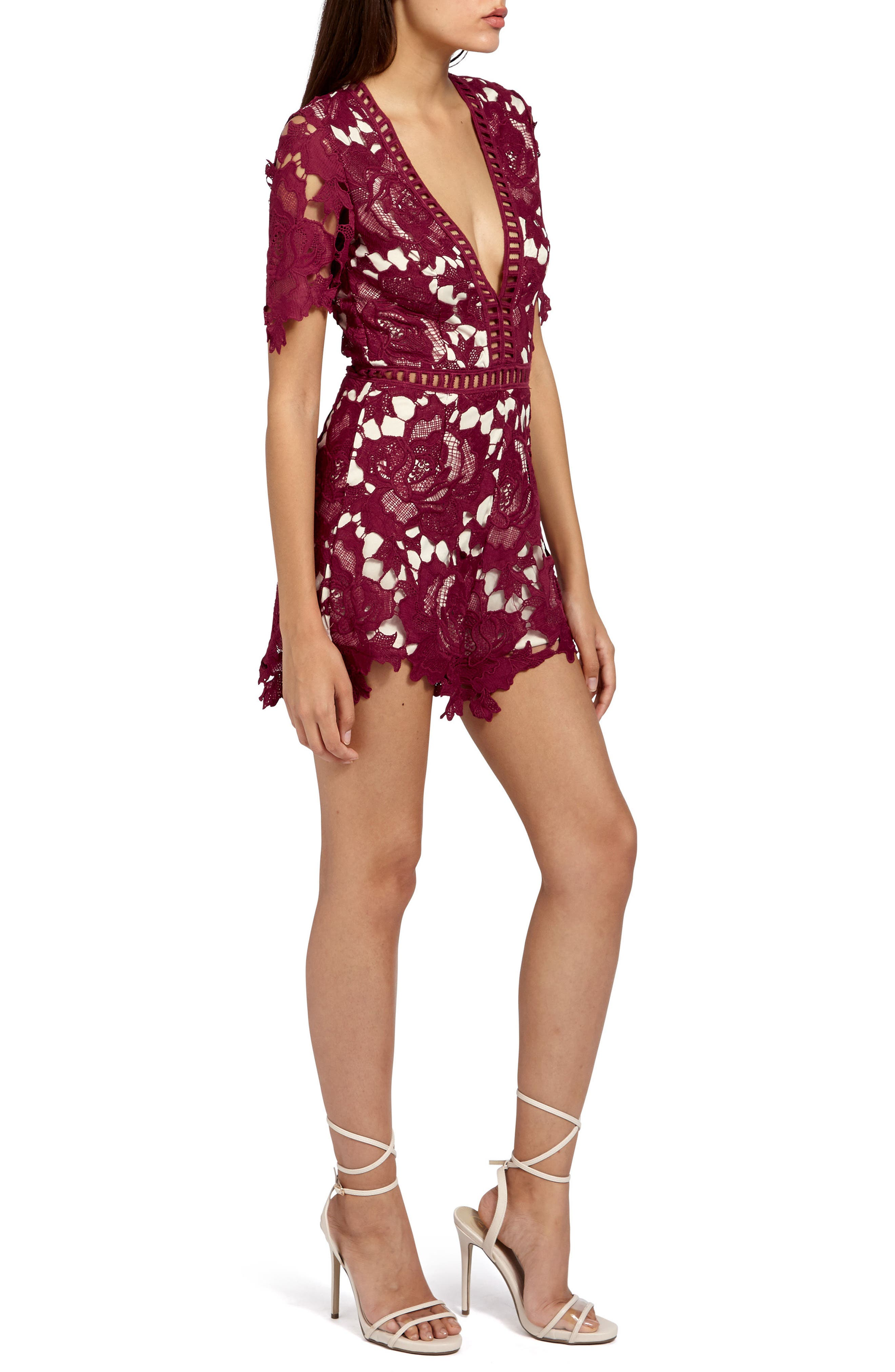 Ladder Stitch Lace Romper,                             Alternate thumbnail 3, color,                             Burgundy