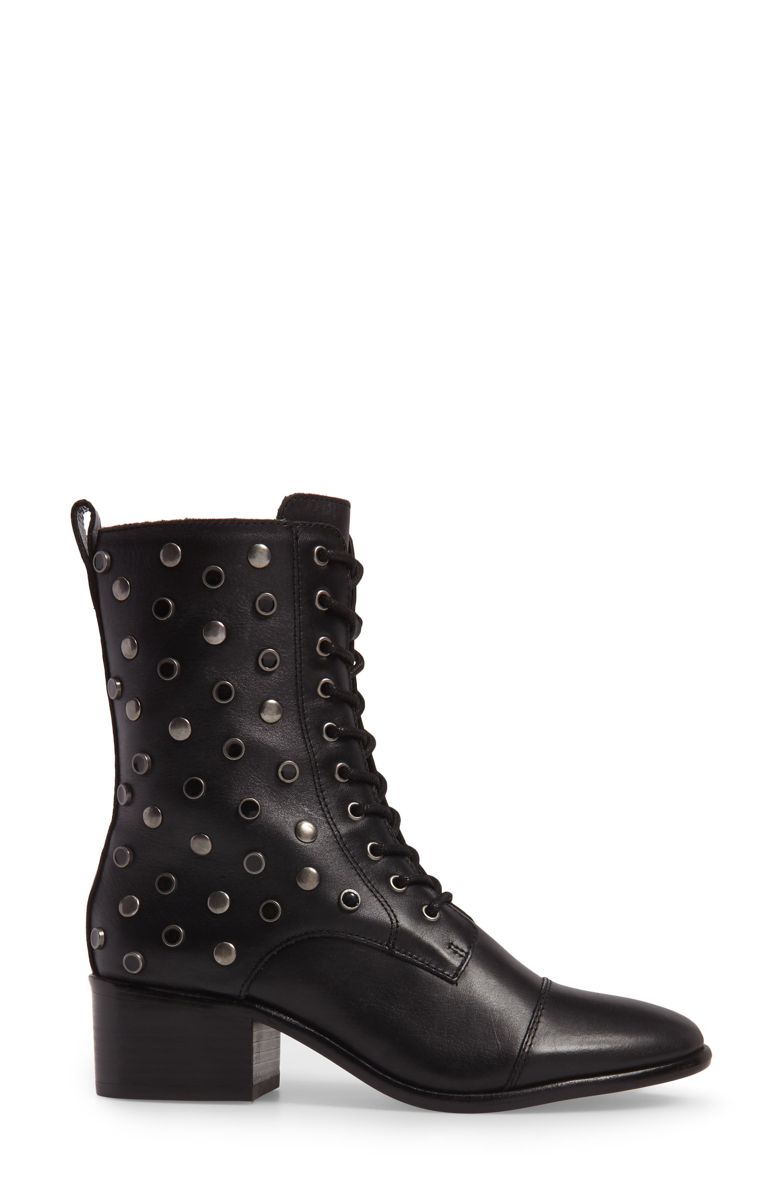 M4D3 Grazie Embellished Water Resistant Boot,                             Alternate thumbnail 3, color,                             Black Leather