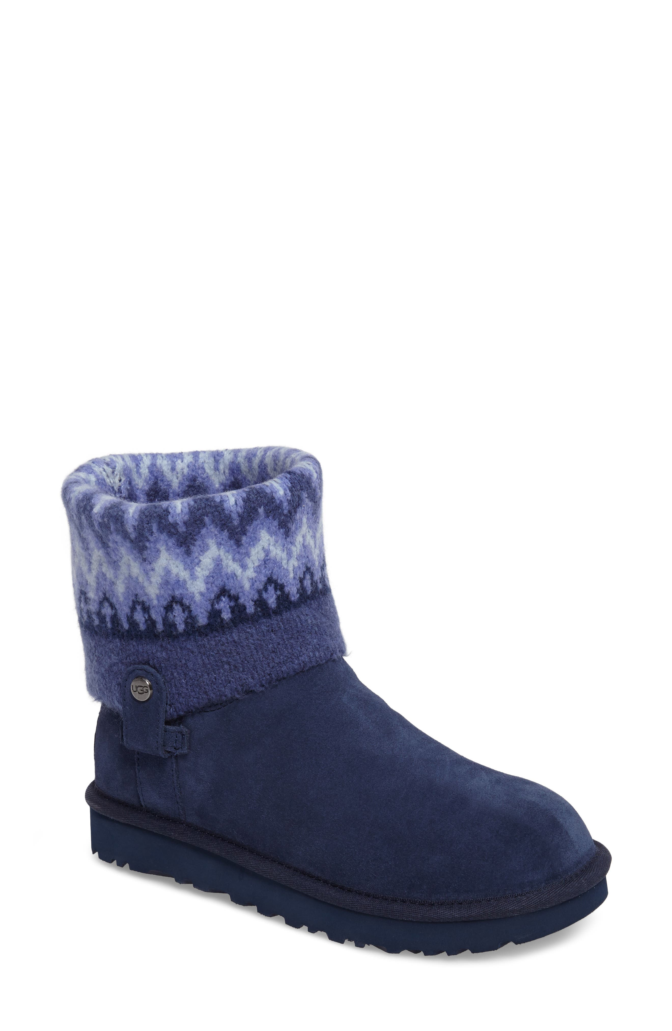 Saela Icelandic Boot,                         Main,                         color, Navy Suede