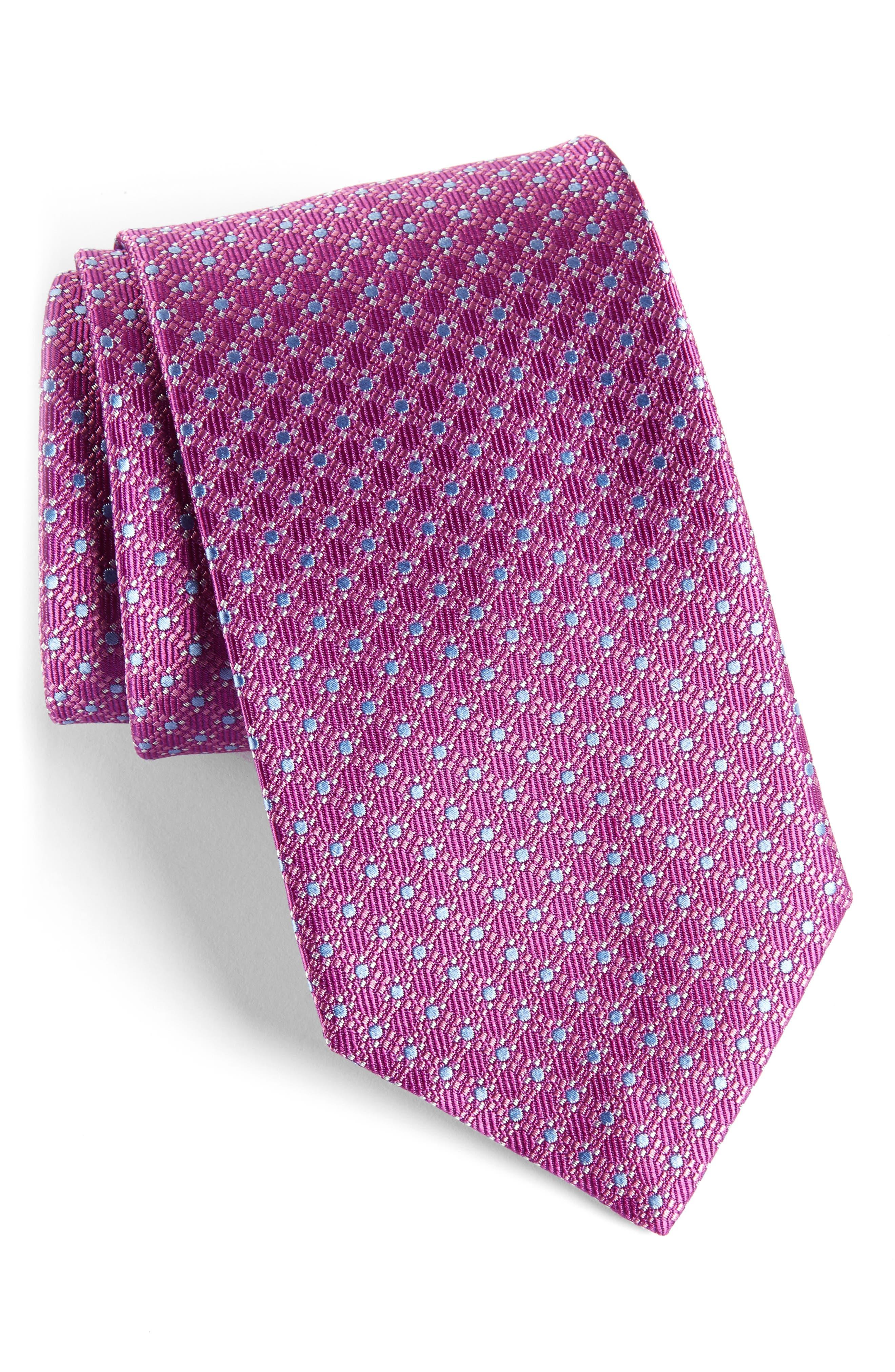Neat Silk Tie,                         Main,                         color, Plum