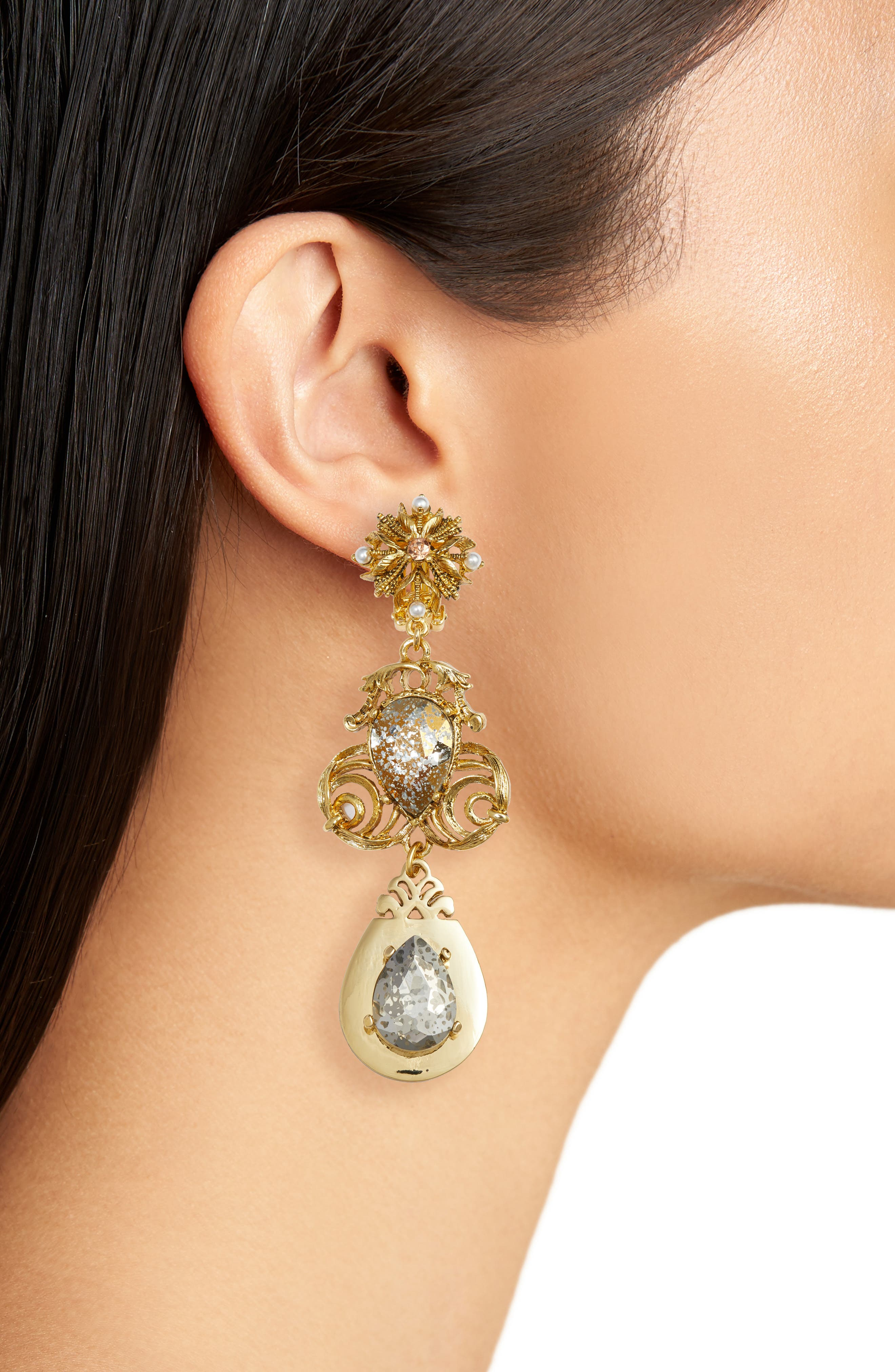 Crystal Drop Clip Earrings,                             Alternate thumbnail 2, color,                             Gold