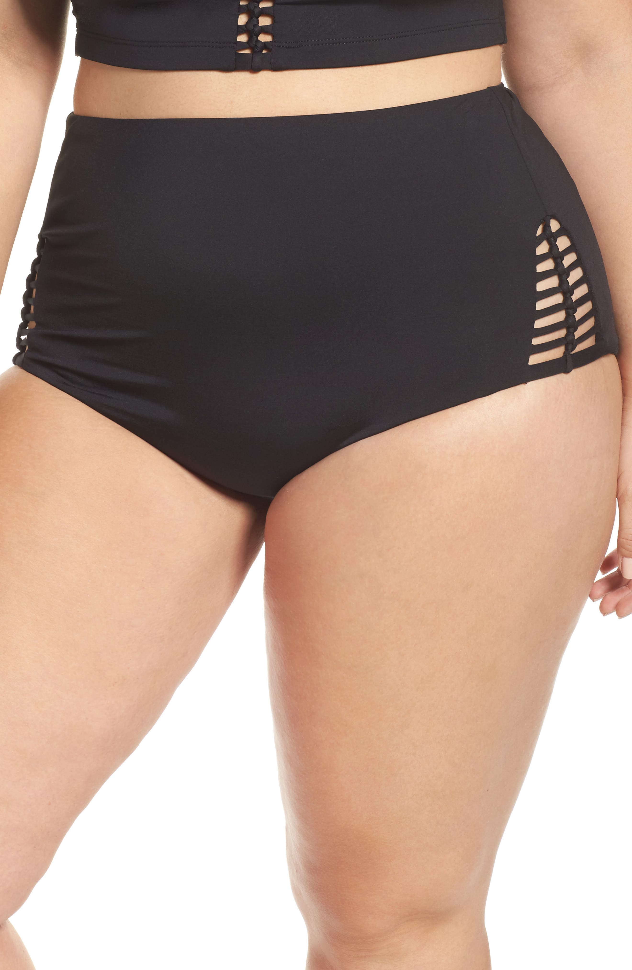 No Strings Attached High Waist Swim Briefs,                             Main thumbnail 1, color,                             Black