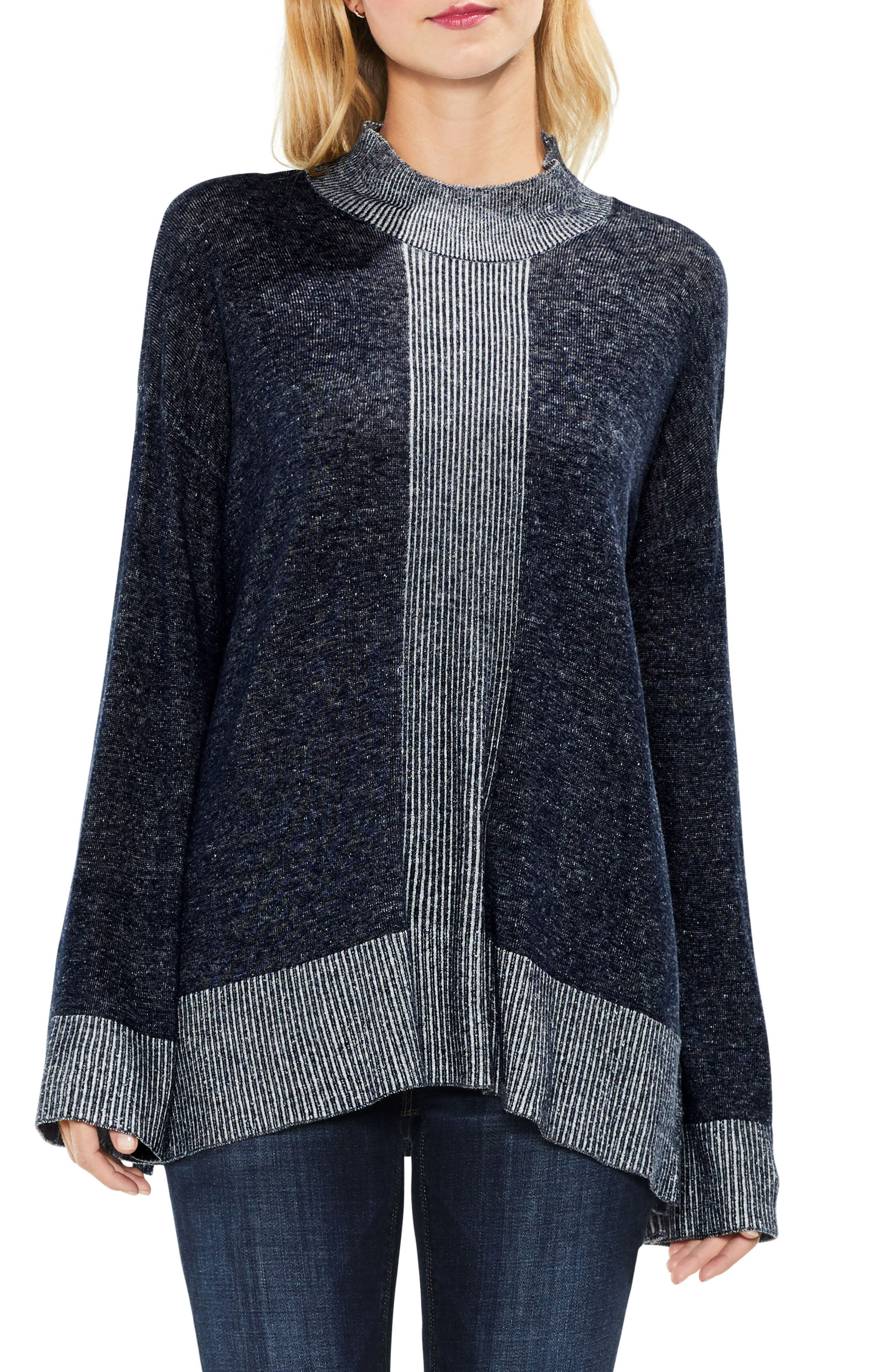 Two by Vince Camuto Ribbed Contrast Sweater,                         Main,                         color, Obsidian